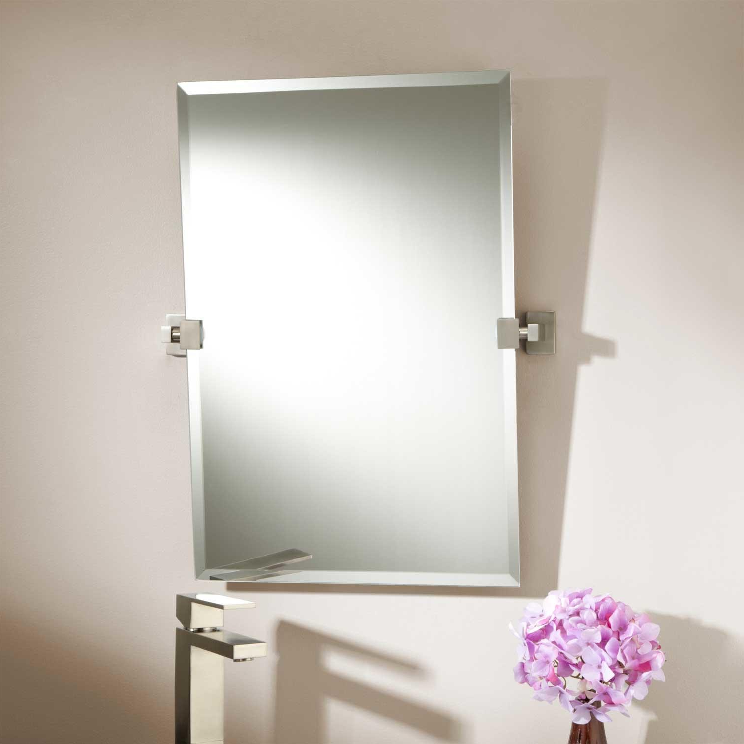 Wall Mirrors Without Frame Intended For Widely Used White Wall Paint Mirror With Black Wooden Frame Granite (View 9 of 20)