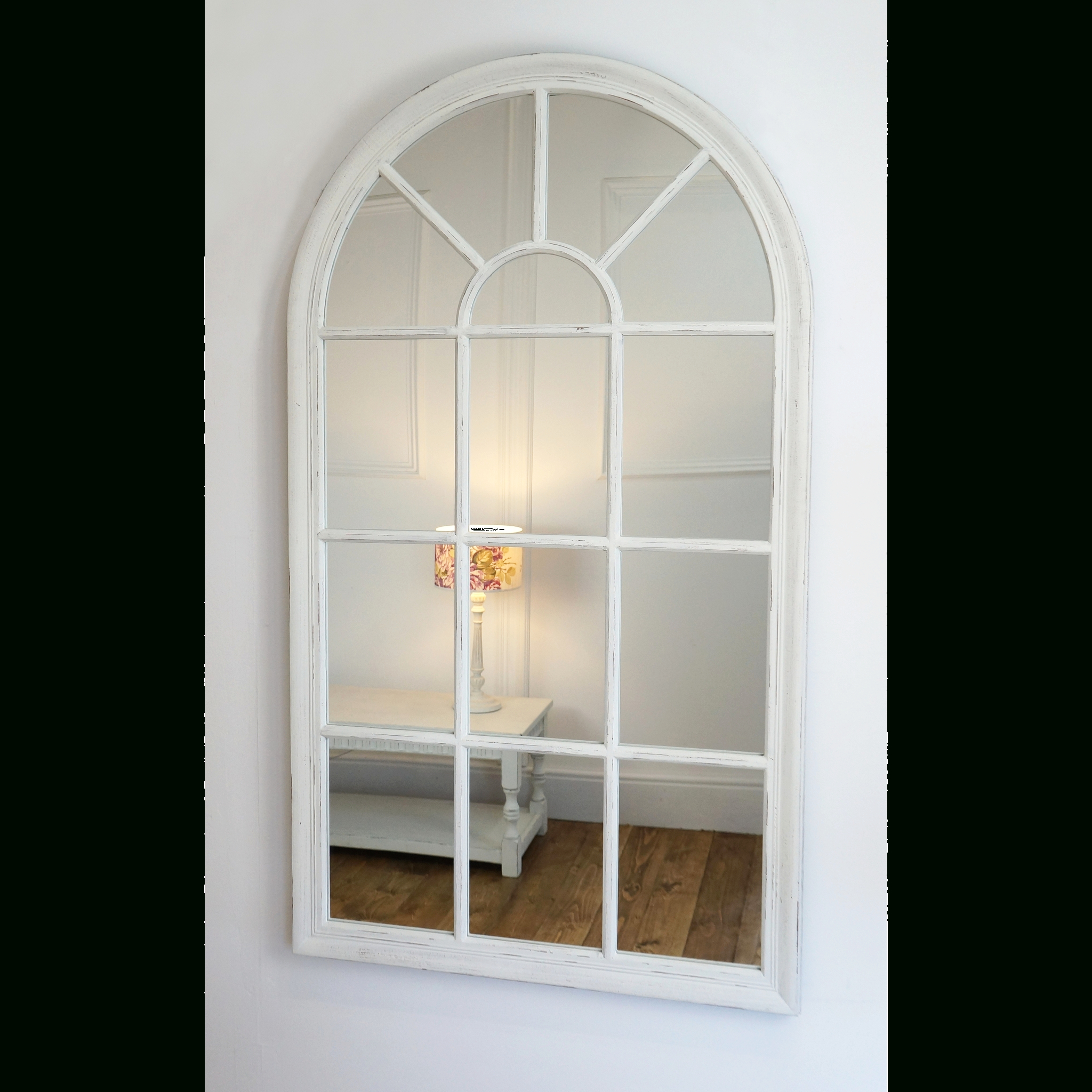 "Wall Mirrors Without Frame Pertaining To Most Popular Arabella – White Arched Window Mirror 40"" X 24"" (100cm X (View 8 of 20)"