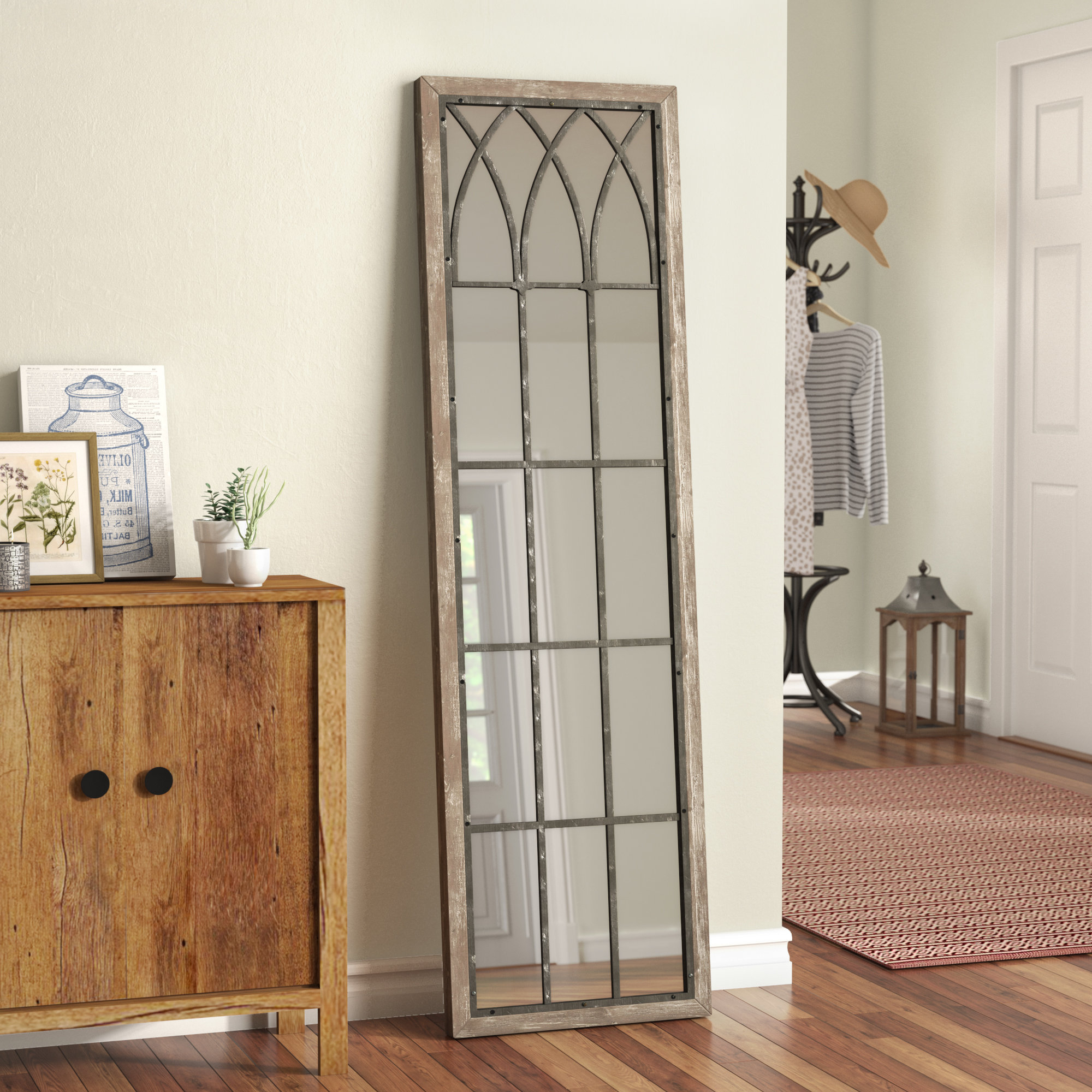 Wallaceton Wooden Full Length Wall Mirror Intended For Most Current 2 Piece Priscilla Square Traditional Beveled Distressed Accent Mirror Sets (View 14 of 20)