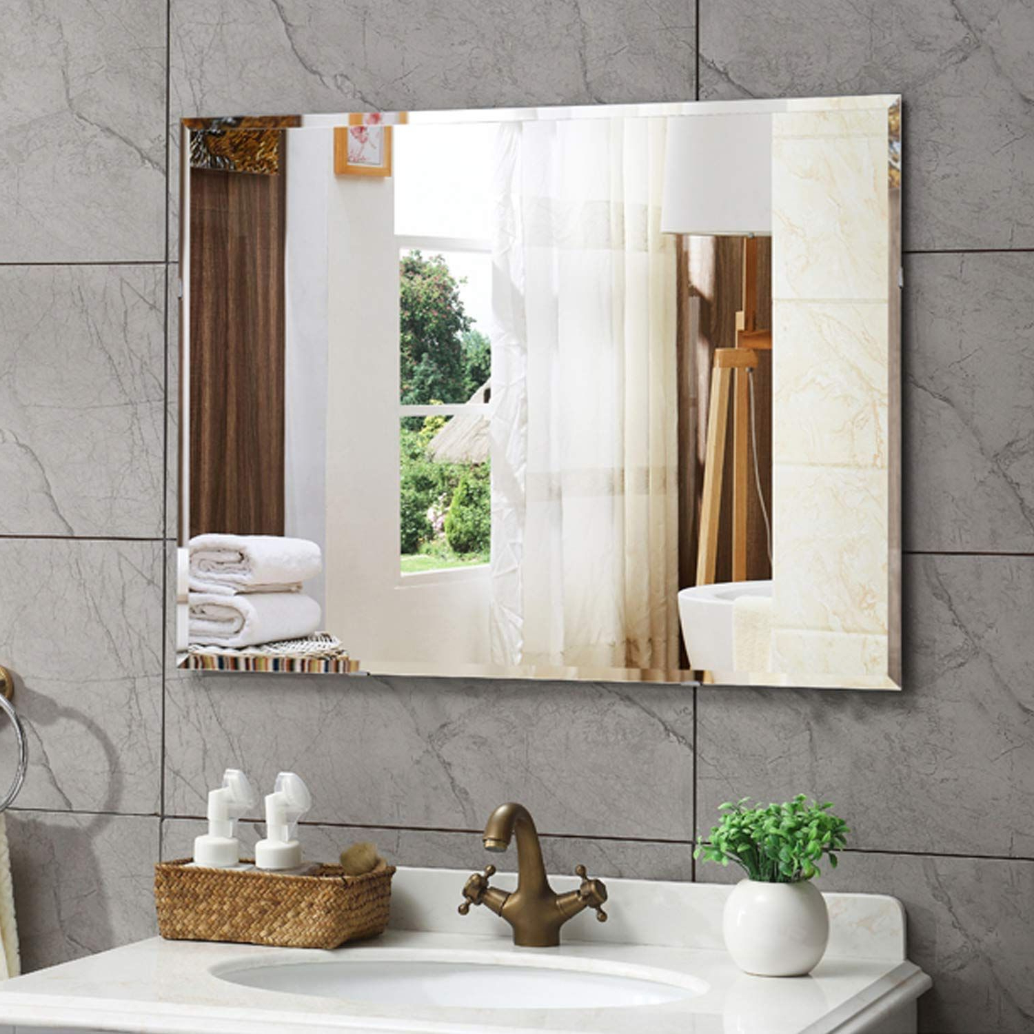 Wallingford Large Frameless Wall Mirrors Intended For Most Up To Date Amazon: Hans&alice Beveled Bathroom Mirrors Wall Mounted, Modern (View 9 of 20)
