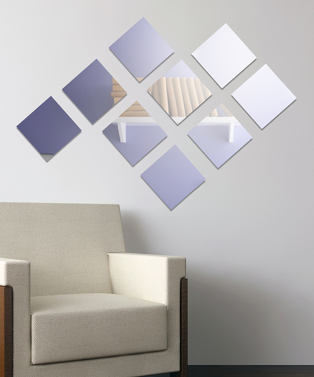 Walplus Adhesive Square Wall Mirror Set With Recent Square Wall Mirror Sets (View 16 of 20)