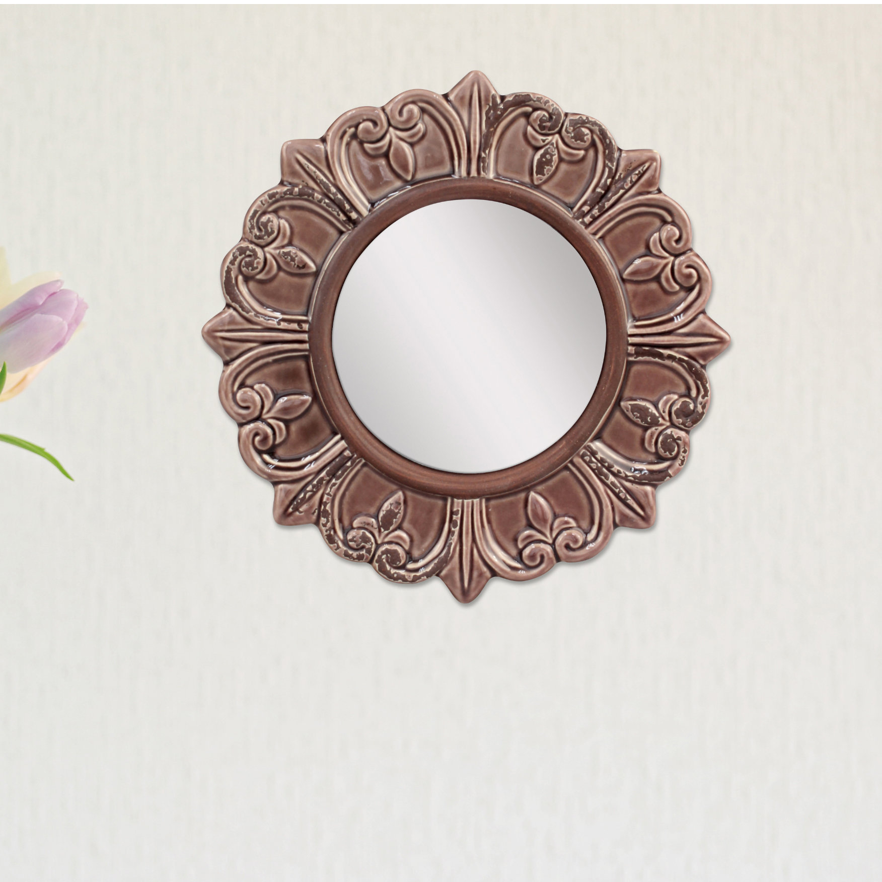 Waverly Place Round Distressed Wall Mirror Within Trendy Knott Modern & Contemporary Accent Mirrors (View 18 of 20)