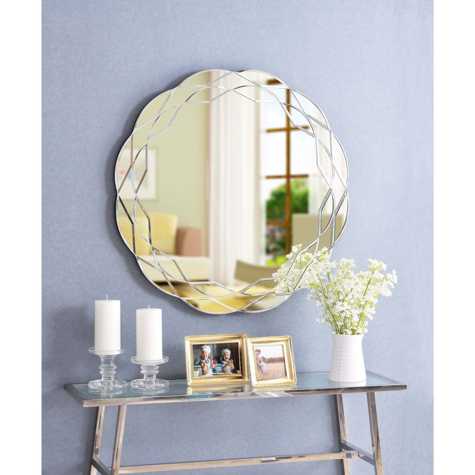 Wavy Wall Mirrors For Newest Details About Large Round Mirror 30'' Wavy Outer Edges Floral Accent Geometric Pattern Silver (View 10 of 20)