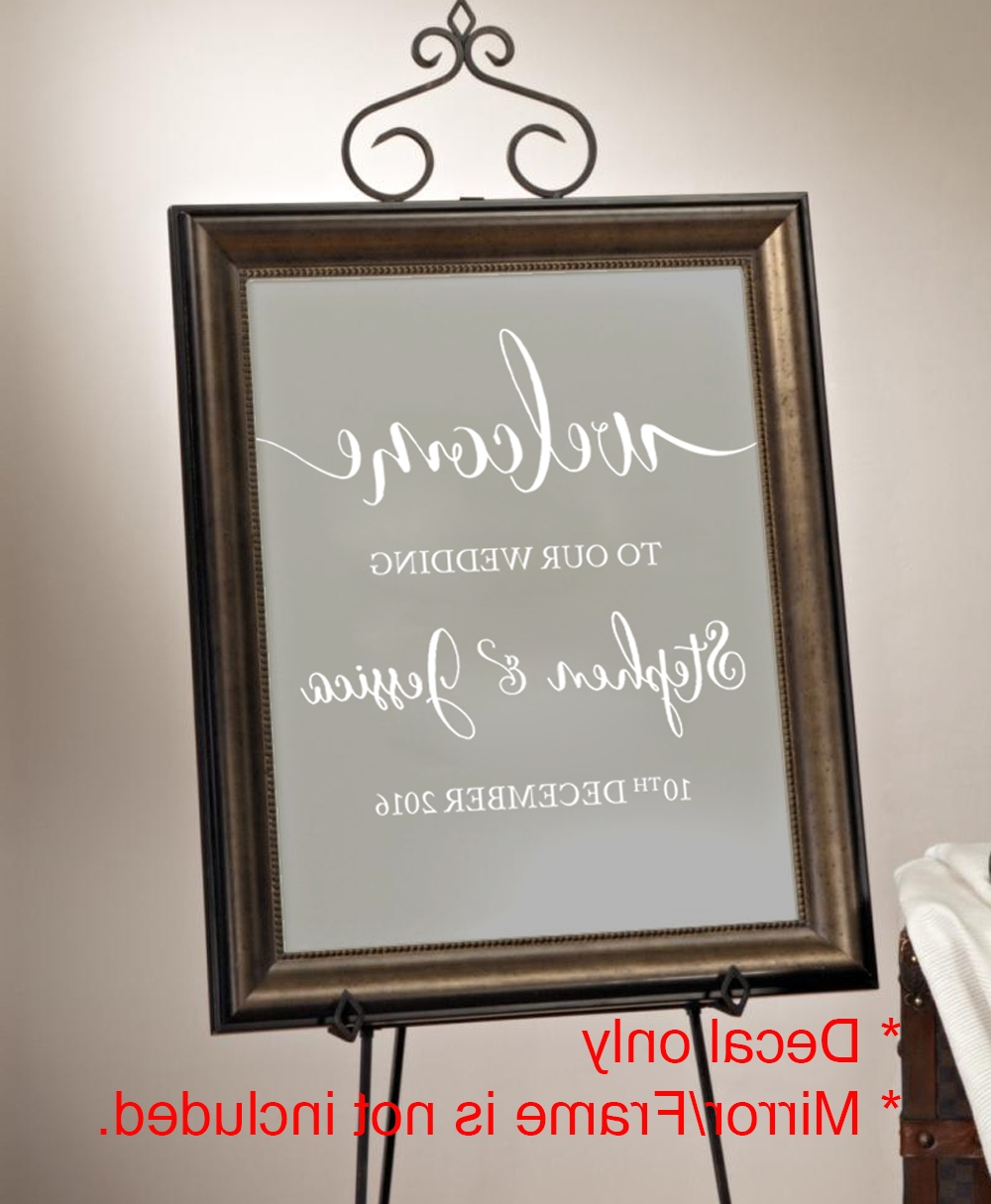 Welcome To Our Wedding Beginning Engagement Sign Wall Mirror Decal Sticker Intended For Most Current Wall Mirror Stickers (View 20 of 20)