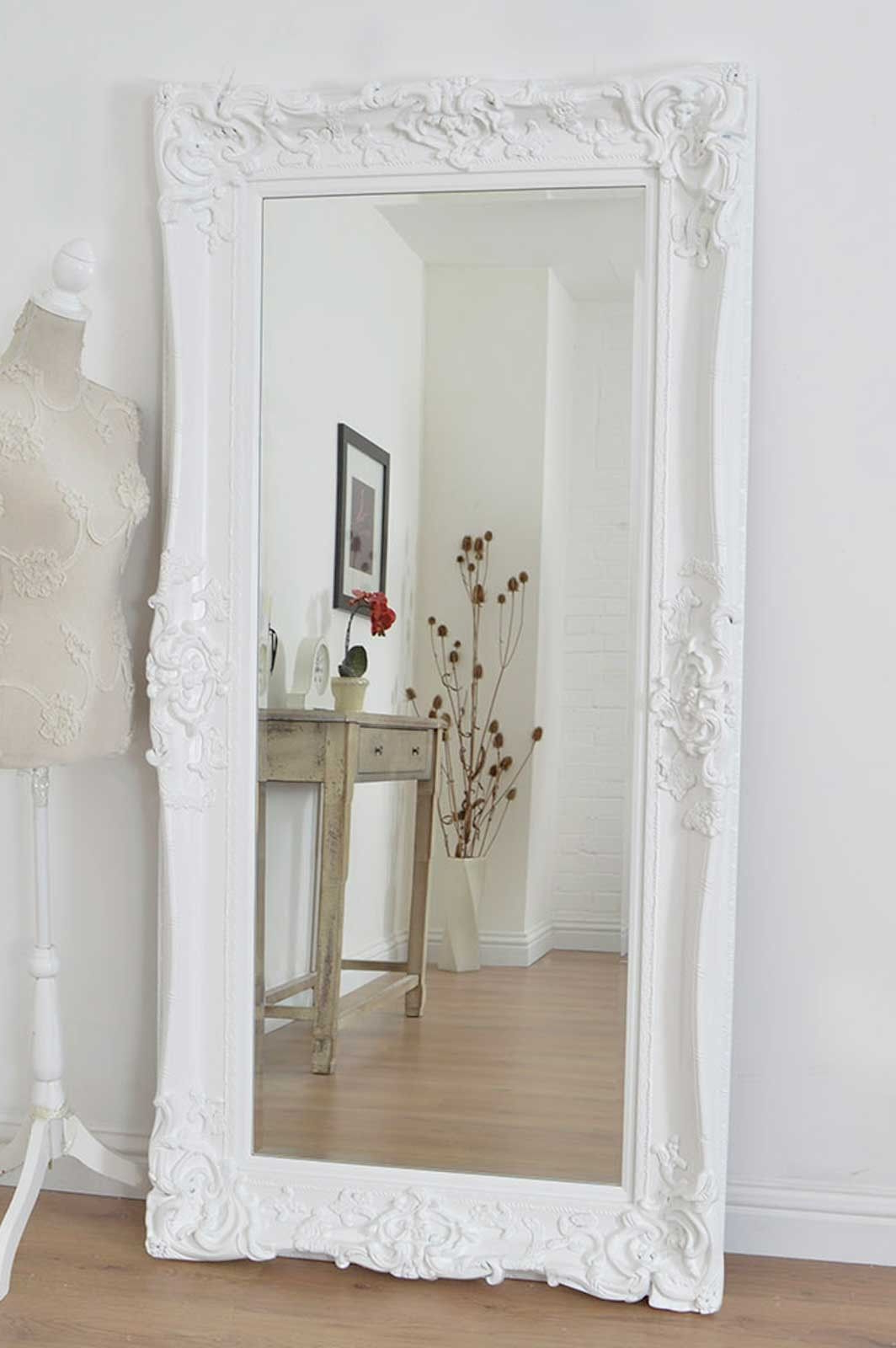Well Known 6Ft X 3Ft 183Cm X 91Cm Large Frame White Antique Design Regarding Large White Framed Wall Mirrors (View 6 of 20)