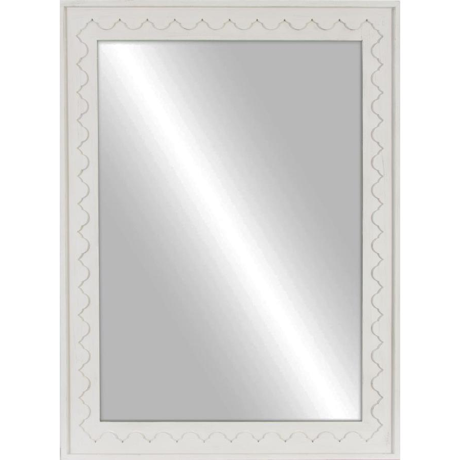 Well Known Allen + Roth 38 In L X 28 In W Distressed White Framed Wall With Regard To White Frame Wall Mirrors (View 10 of 20)