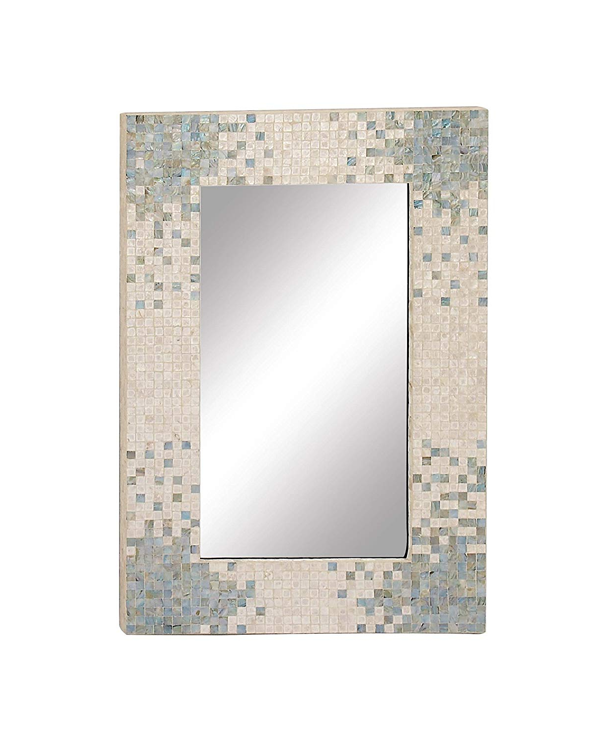 Well Known Amazon: Deco 79 84415 84415 Wall Mirror, Reflective/pearl White Intended For Aqua Wall Mirrors (View 18 of 20)