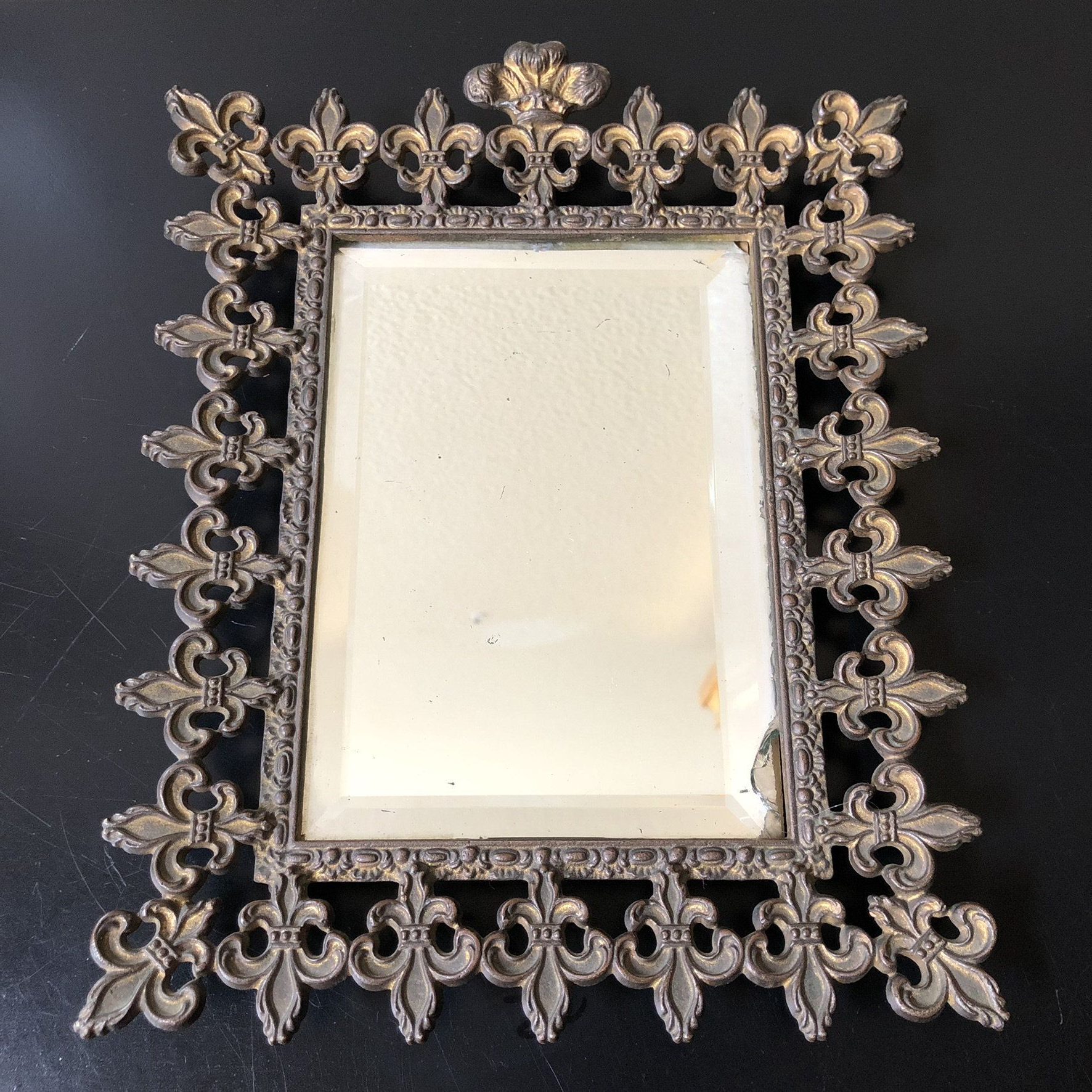 Well Known Antique Wall Hanging Metal Framed Mirror, Small Fleur De Lis Wall Regarding Small Antique Wall Mirrors (View 17 of 20)