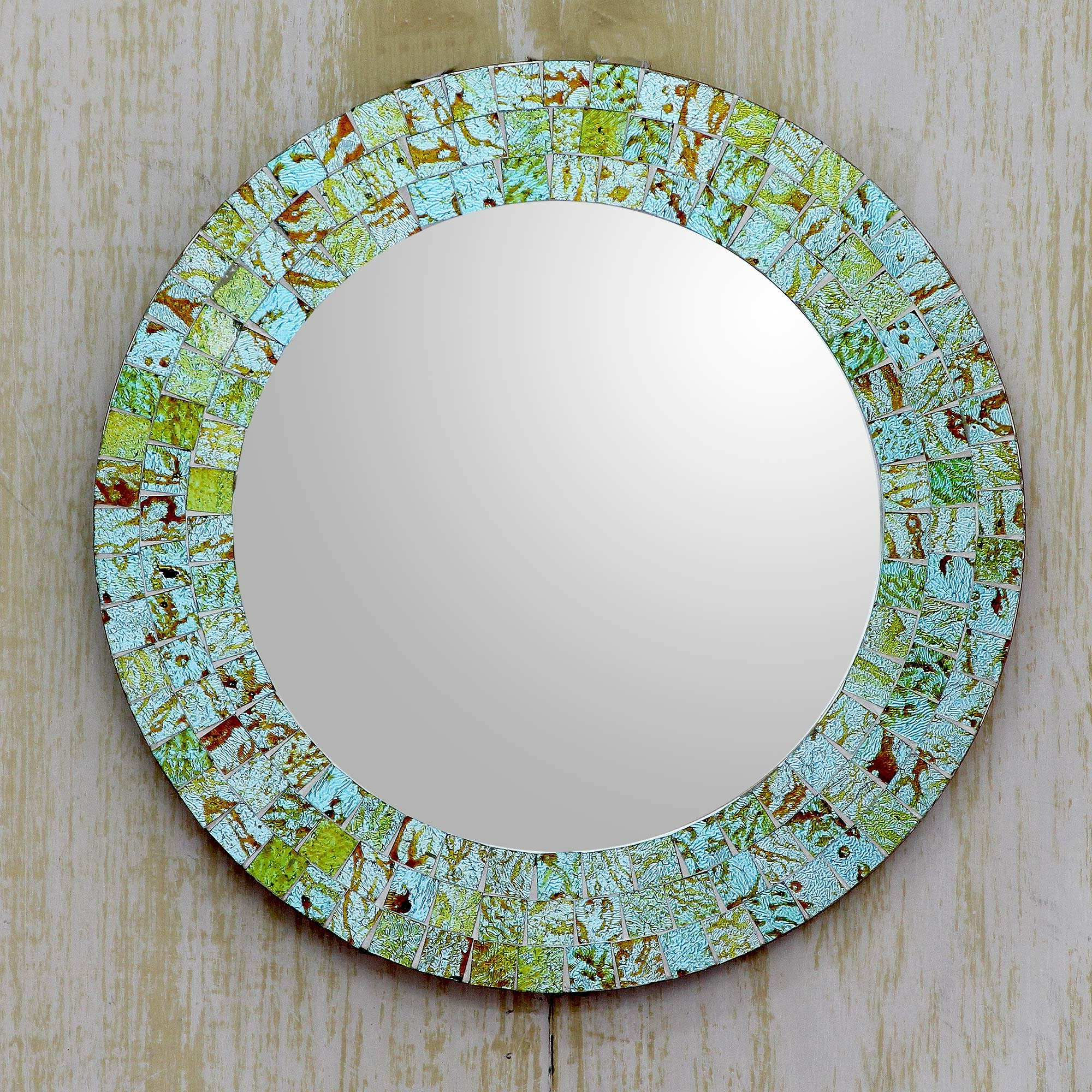 Well Known Aqua And Lime Coastal Accent Mirror Inside Arrigo Accent Mirrors (View 17 of 20)