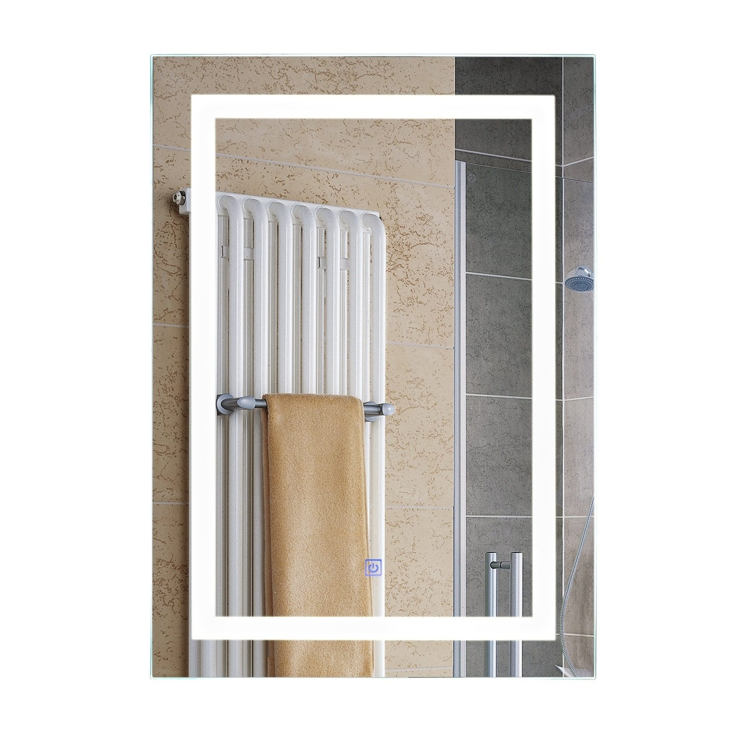 Well Known Backlit Bathroom Wall Mirrors Pertaining To Homcom Vertical 32 In Led Illuminated Bathroom Wall Mirror – Silver (View 18 of 20)