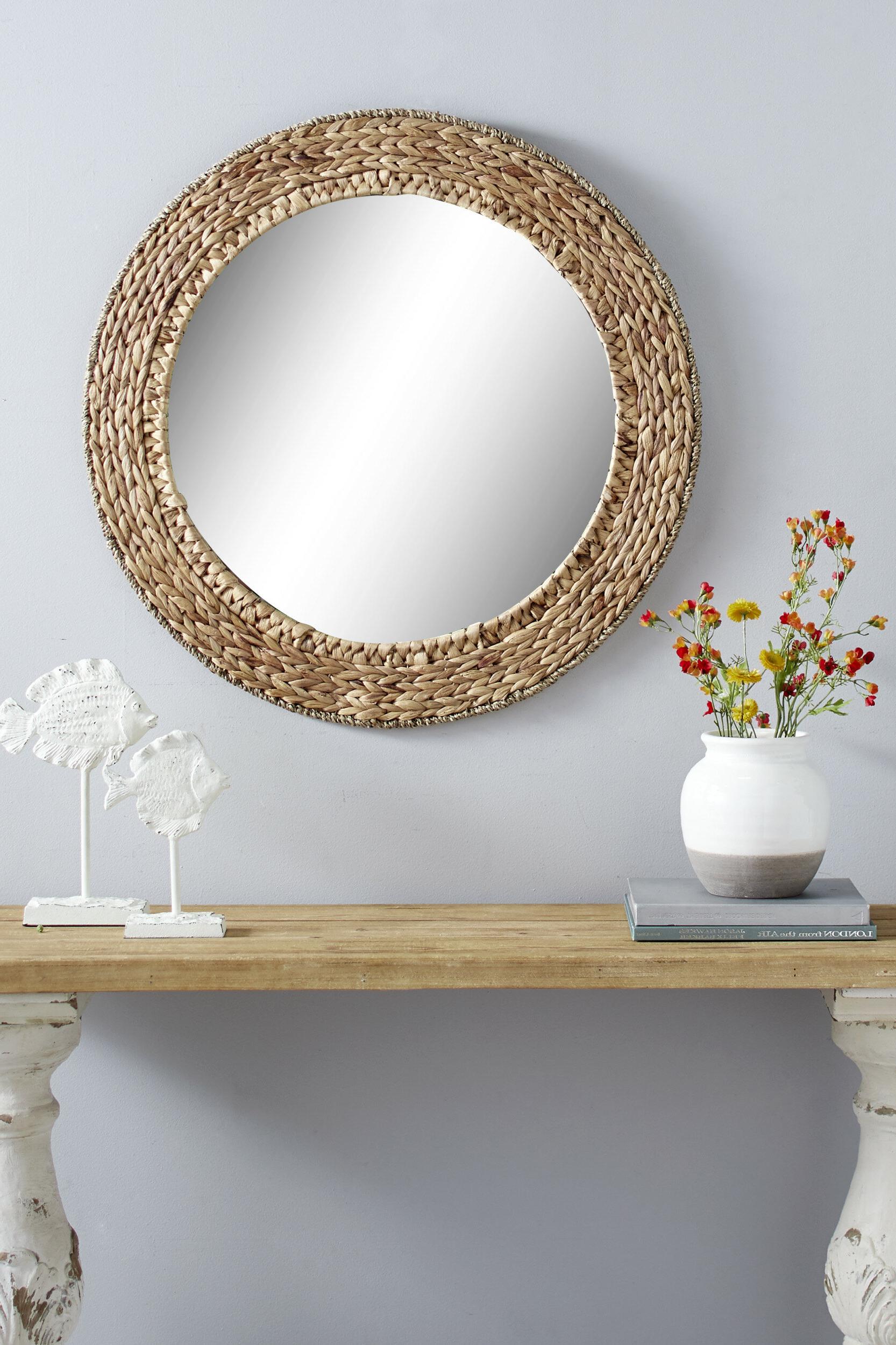 Well Known Bartolo Accent Mirrors Regarding Chiara Round Handmade Wicker Rustic Accent Mirror (View 15 of 20)