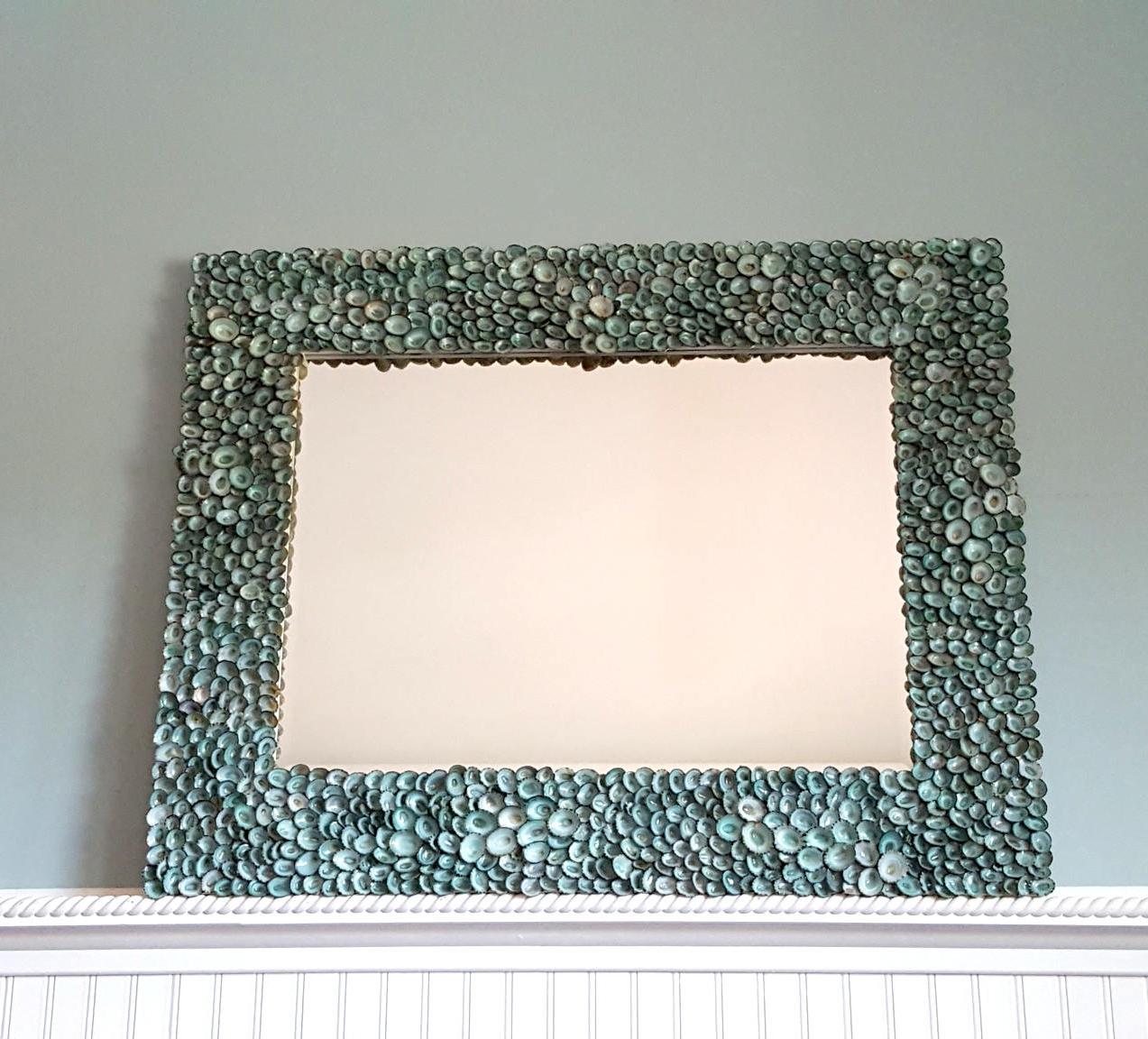 Well Known Beach Decor Seashell Mirror, Aqua Limpet Shell Wall Mirror, Nautical Decor Limpet Shell Mirror, Coastal Decor Beach Mirror – Aqua Regarding Beachy Wall Mirrors (View 15 of 20)