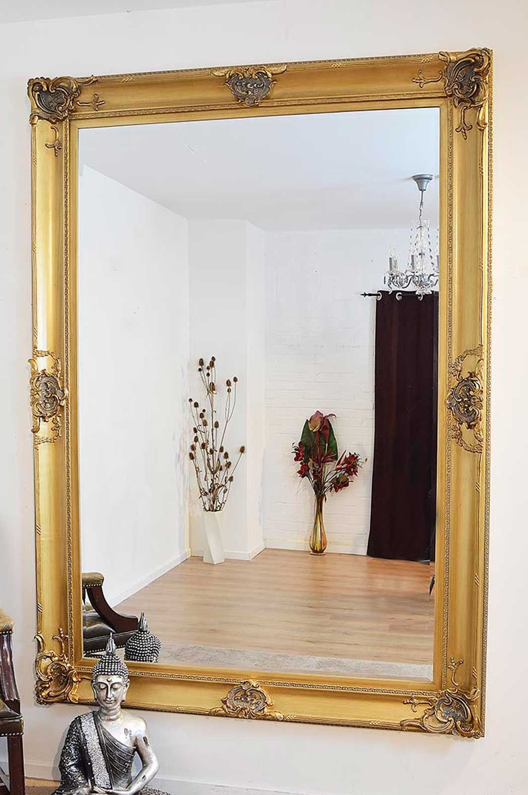 Well Known Beautiful Large Gold Decorative Ornate Wall Mirror 7ft X 5ft (213 X With Regard To Extra Large Framed Wall Mirrors (View 4 of 20)