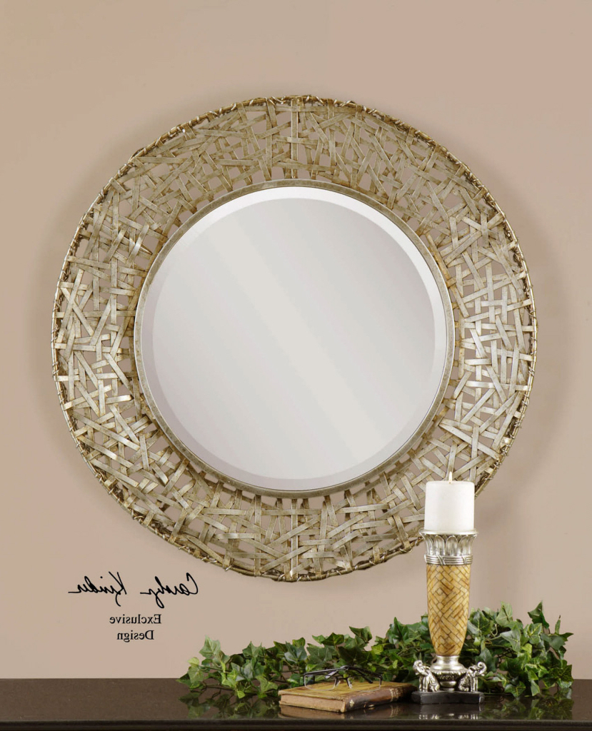 "Well Known Big Round Wall Mirrors With Regard To Details About Woven Champagne Metal Strips Round Wall Mirror Modern Large 32"" (View 9 of 20)"