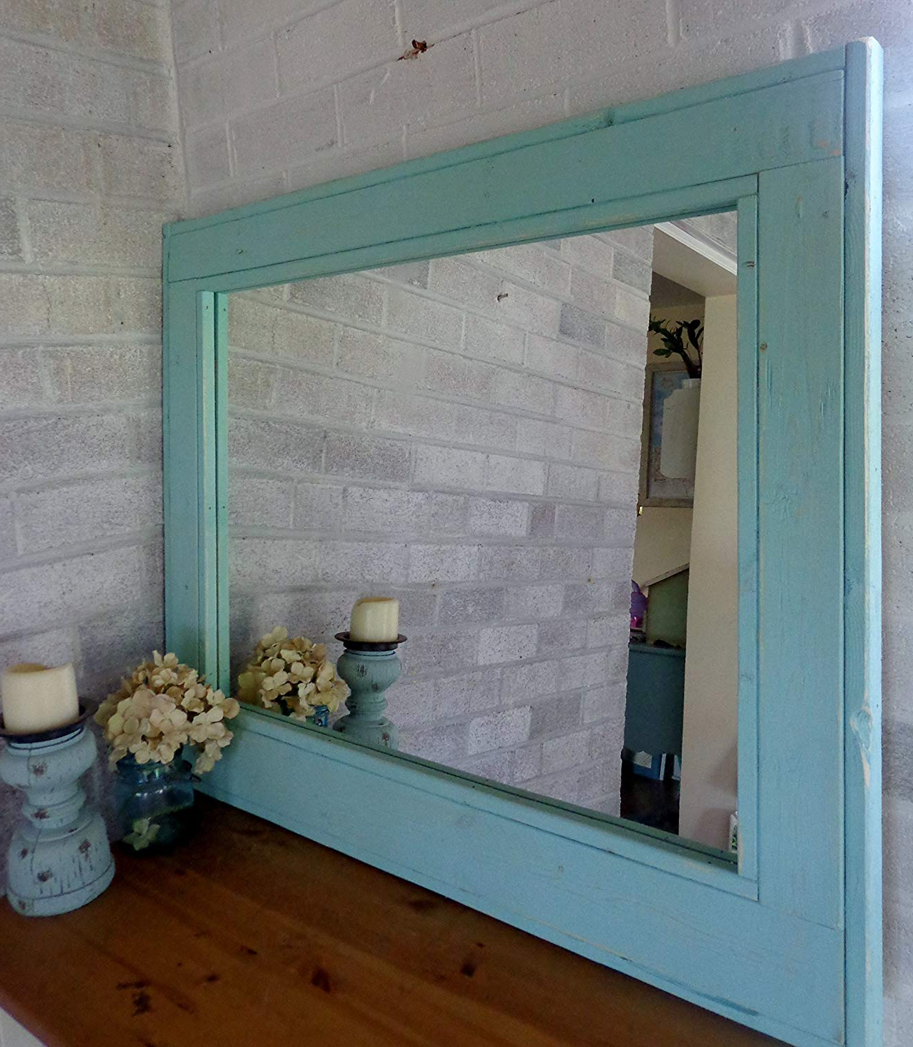 Well Known Blue Framed Wall Mirrors Pertaining To Herringbone Reclaimed Wood Framed Mirror, Available In 4 Sizes And 20 Paint  Colors: Shown In Sea Blue – Large Framed Wall Mirror – Mirror Decorative (View 12 of 20)