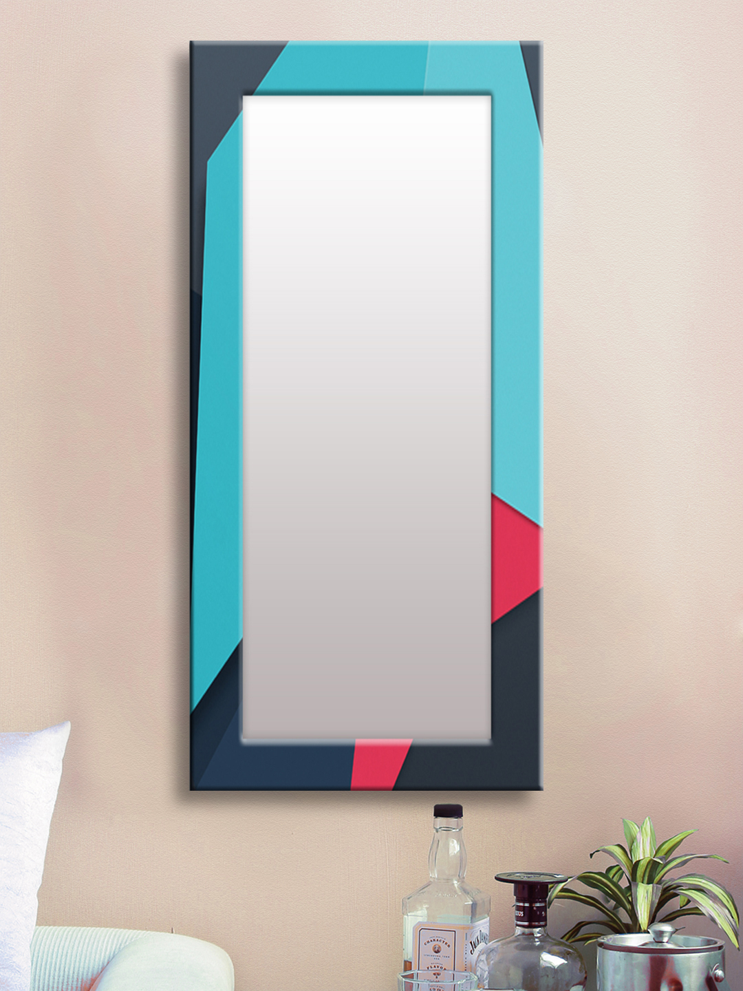 Well Known Blue Framed Wall Mirrors Regarding Buy 999Store Blue Framed Wall Mirror – Mirrors For Unisex (View 7 of 20)