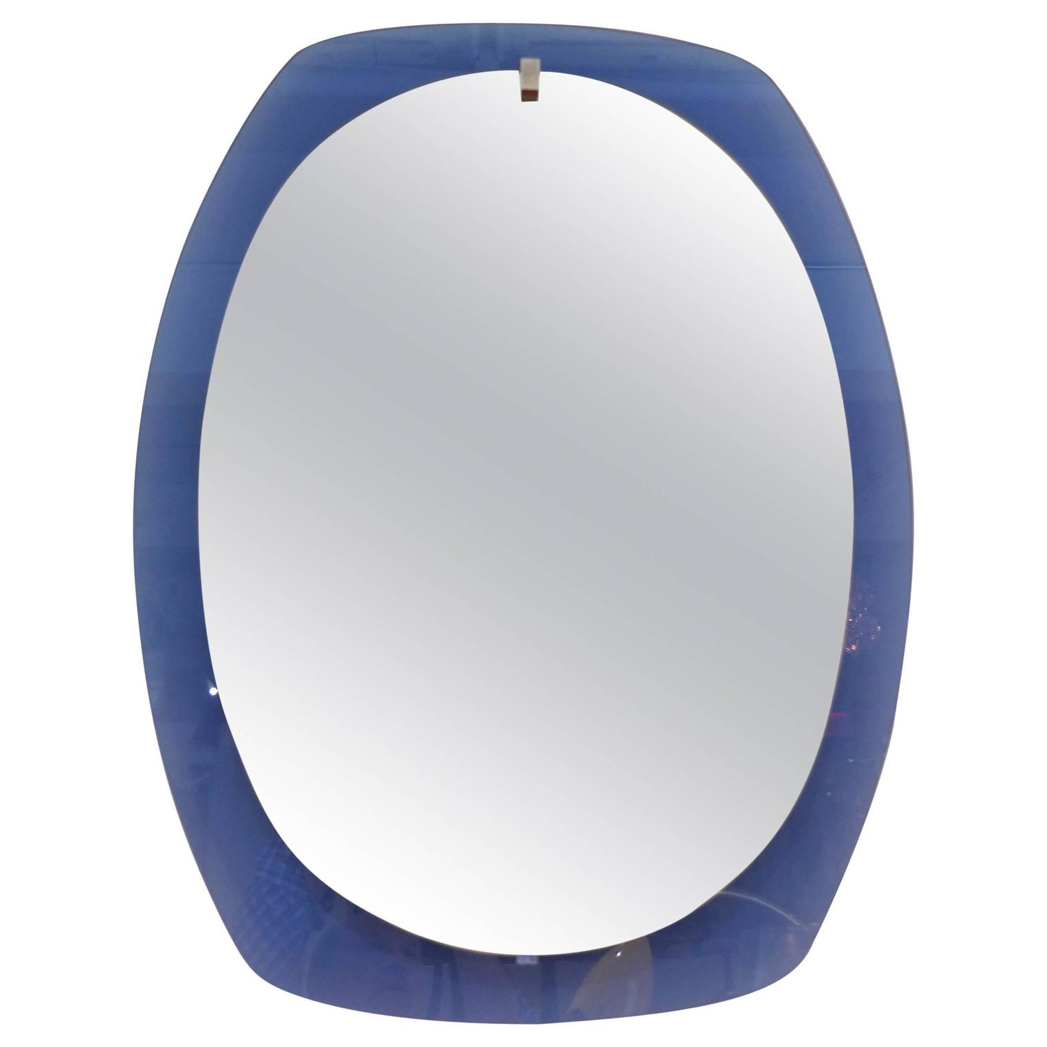 Well Known Blue Wall Mirrors Pertaining To 1950s Italian Blue Glass Wall Mirrorveca (View 8 of 20)