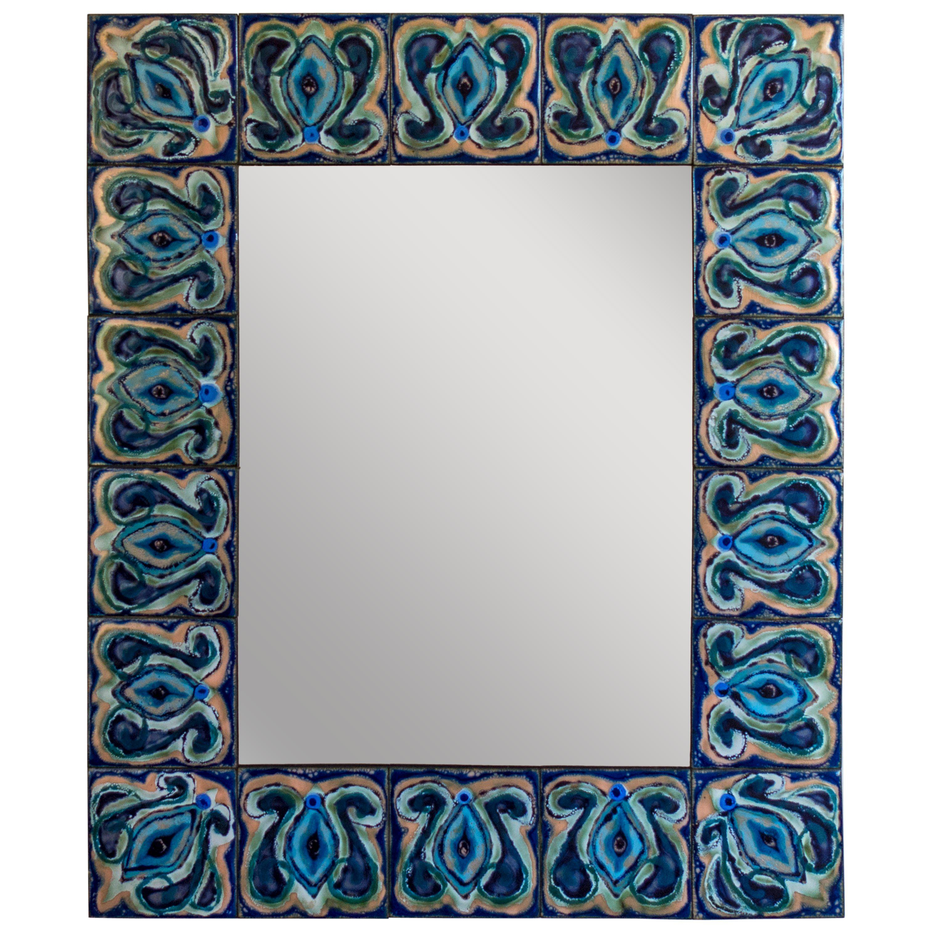 Well Known Bodil Eje, Unique Blue, Turquoise And Indigo Enameled Copper Wall Mirror With Turquoise Wall Mirrors (View 19 of 20)