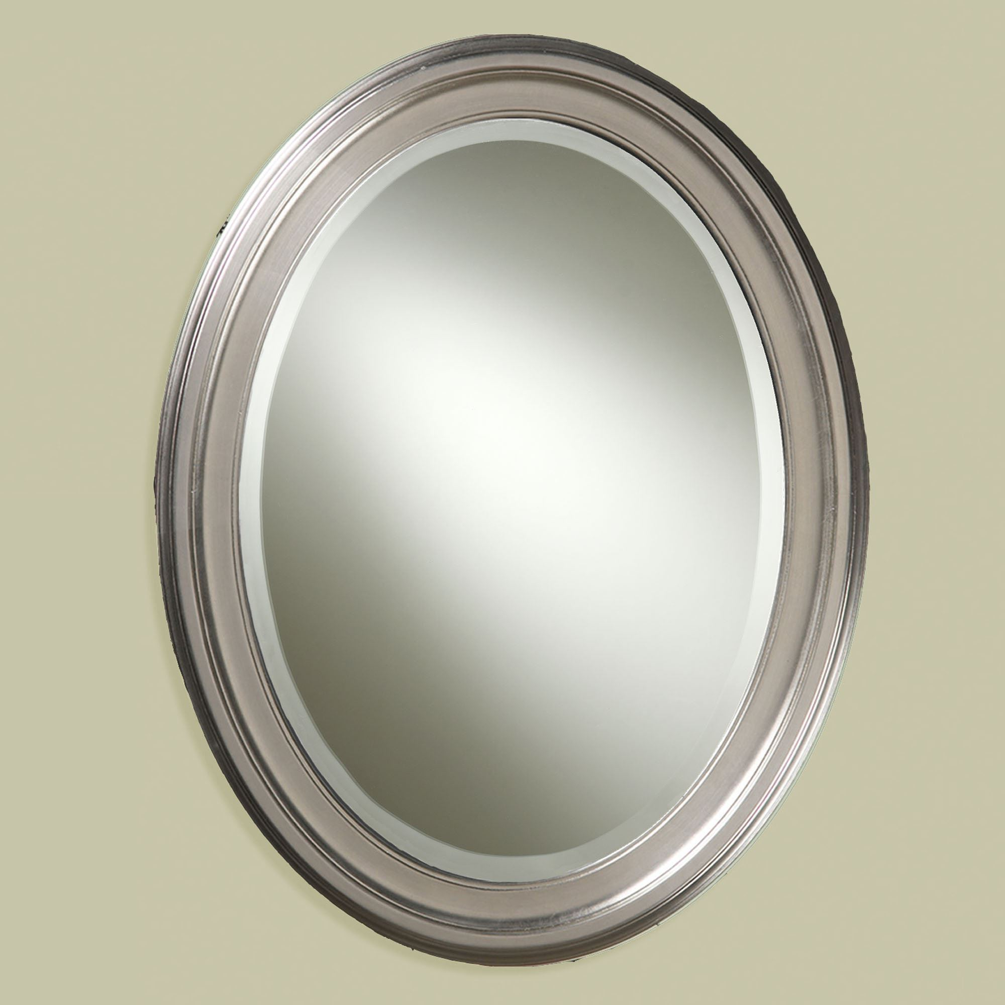Well Known Brushed Nickel Wall Mirrors For Bathroom Inside Loree Brushed Nickel Finish Oval Wall Mirror (View 5 of 20)