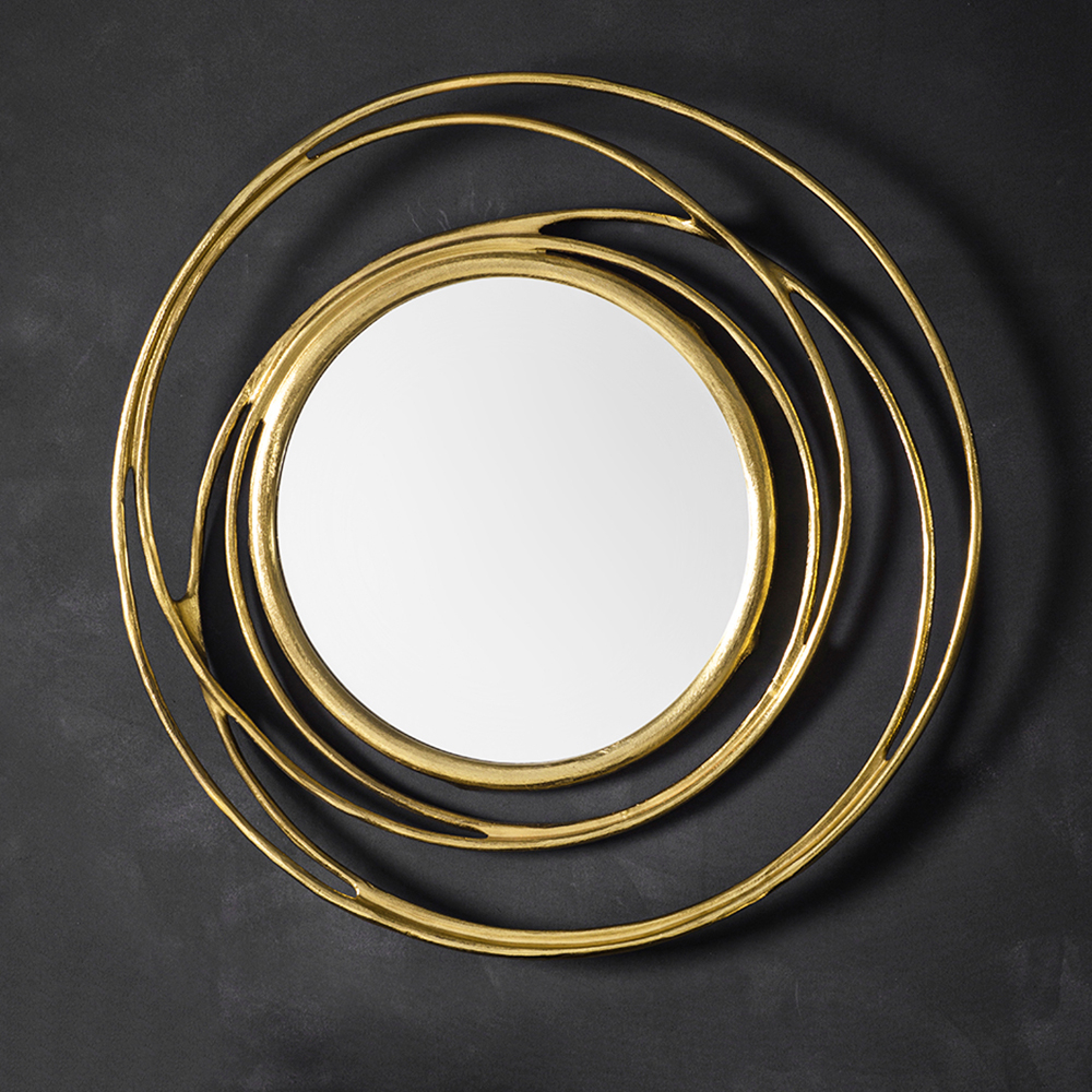 Well Known Circular Wall Mirrors In Round Gold Metal Swirl Wall Mirror (View 20 of 20)