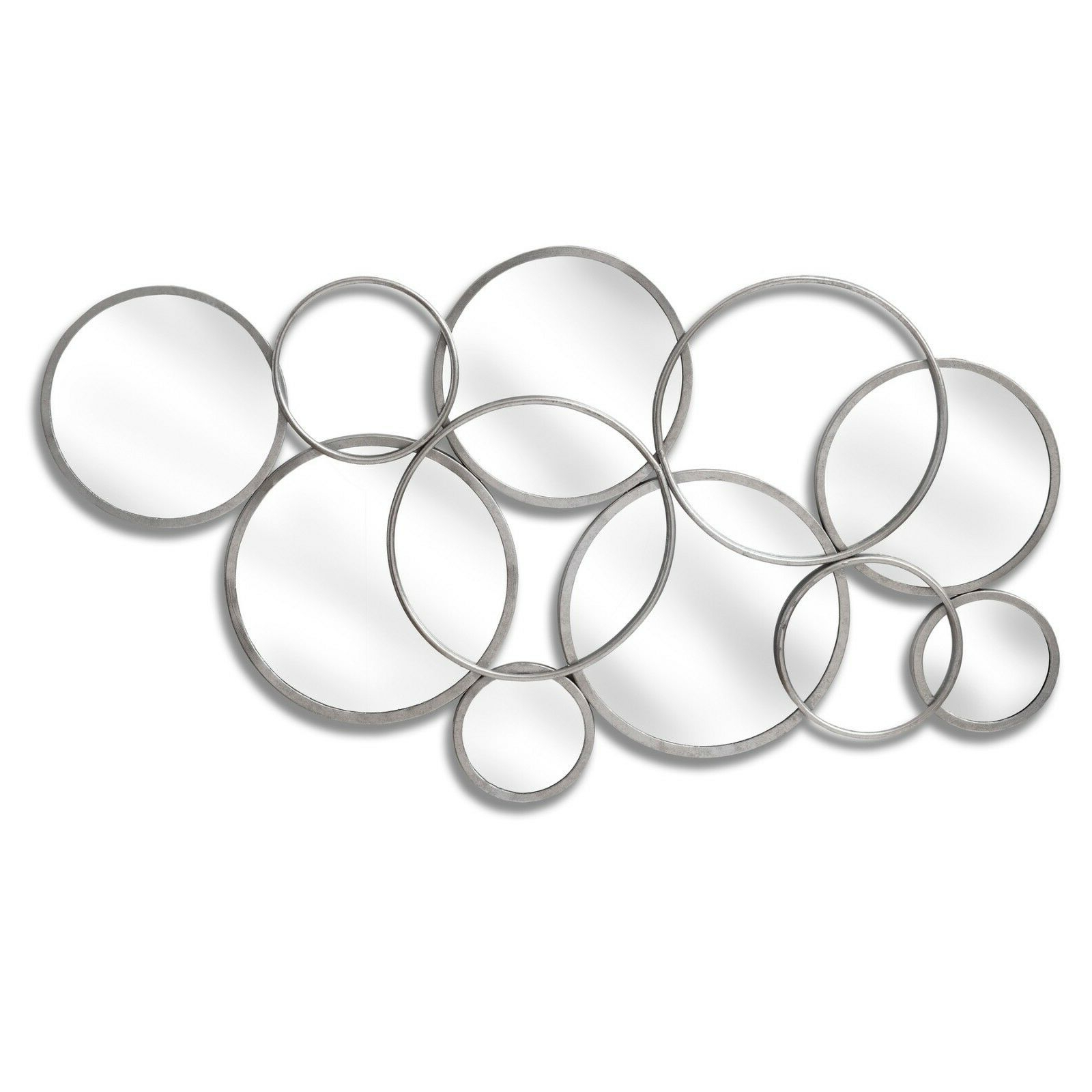 Well Known Contemporary Silver Mirrored Glass Circular Abstract Wall Art Mirror Throughout Abstract Wall Mirrors (View 19 of 20)