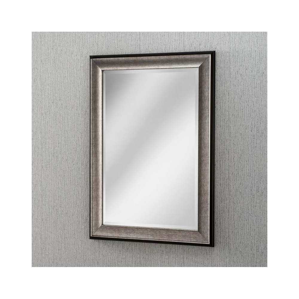 Well Known Contemporary Wall Mirrors Intended For Grey Beveled Rectangular Contemporary Wall Mirror (View 3 of 20)