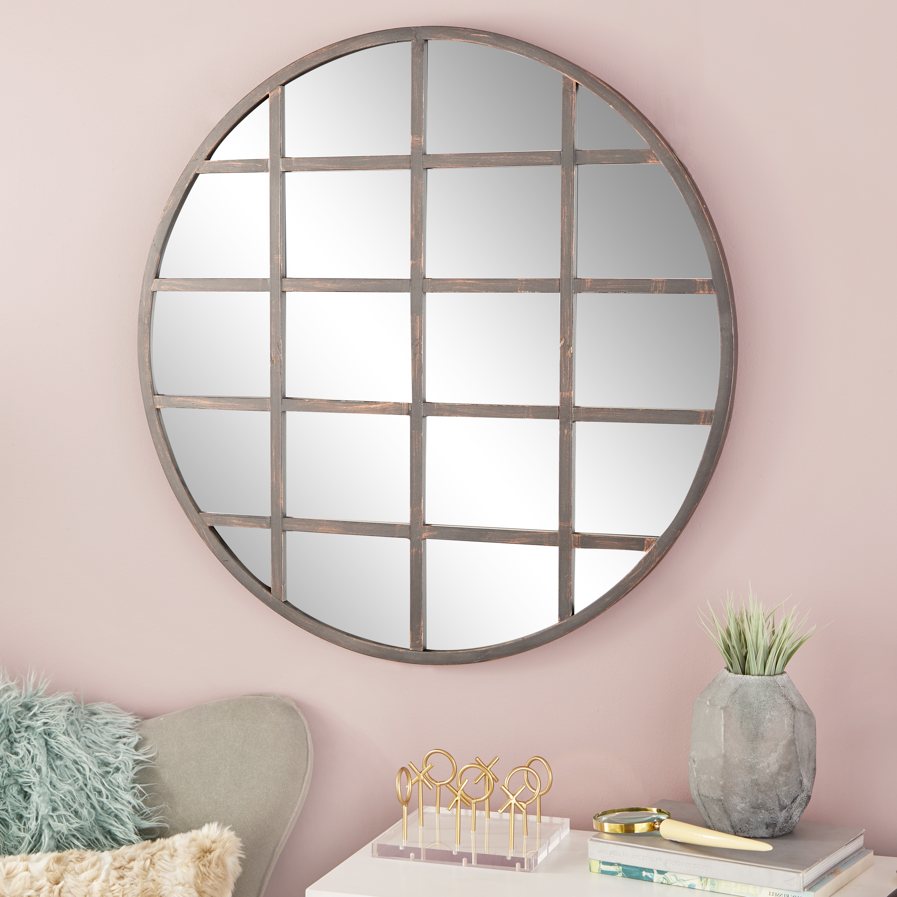 Well Known Cosmoliving Large Industrial Round Wall Mirror With Metal Grid Overlay (View 17 of 20)