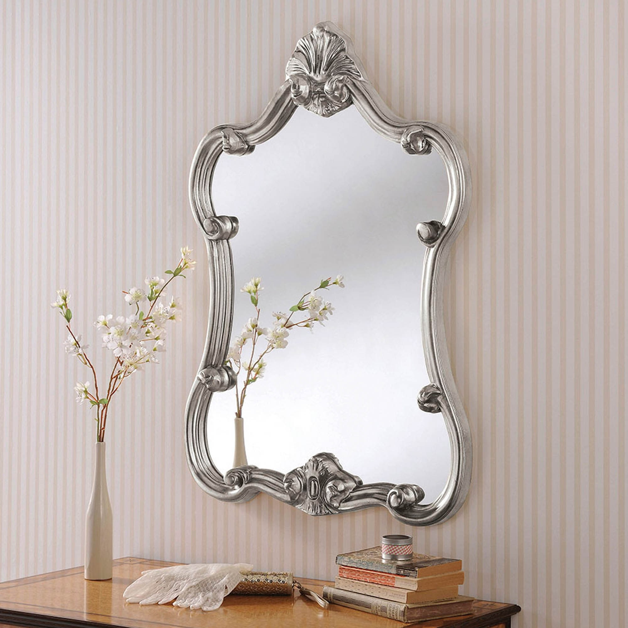 Well Known Decorative Silver Ornate Wall Mirror Regarding Ornate Wall Mirrors (View 2 of 20)