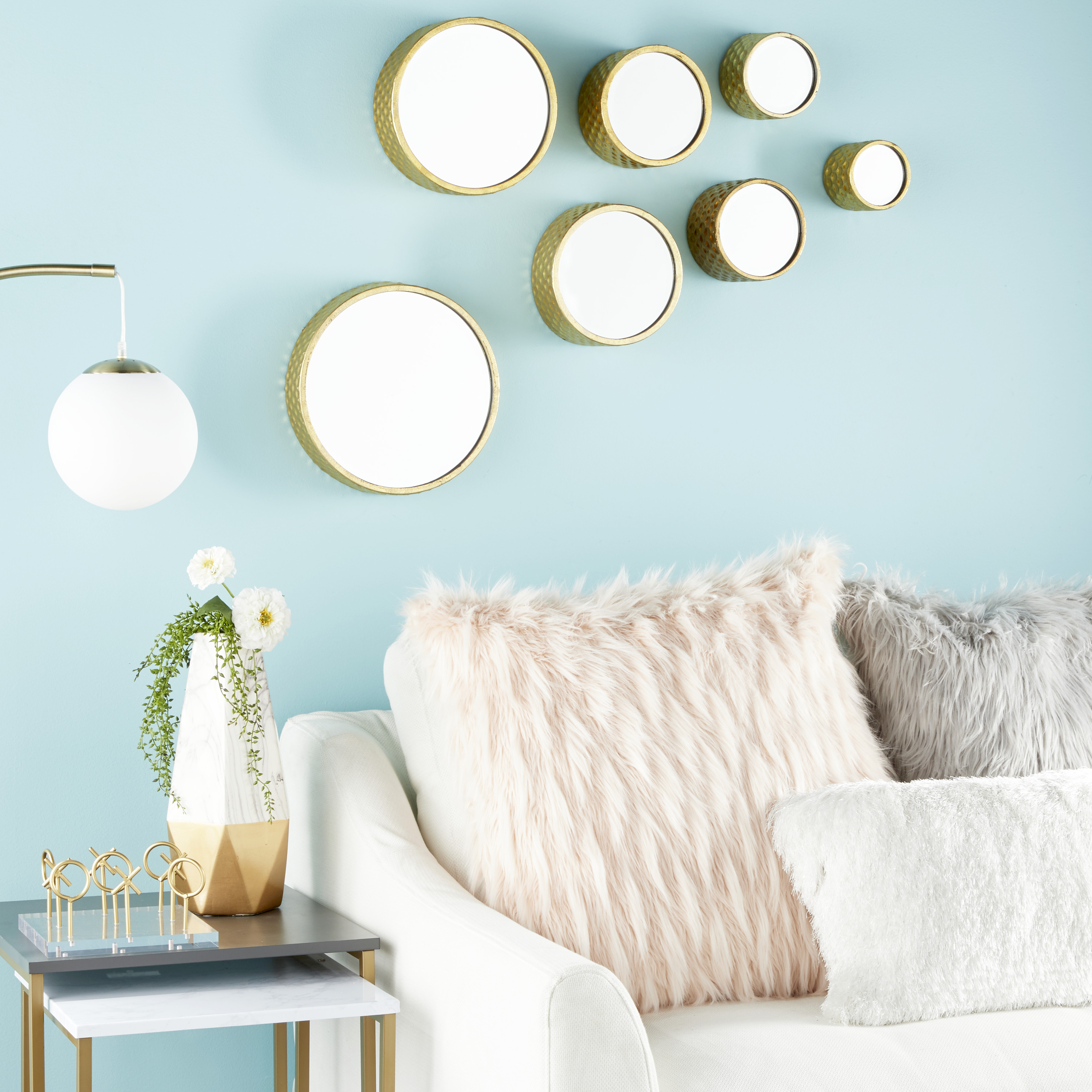Well Known Decorative Wall Mirrors For Living Room With Regard To Cosmoliving Small, Round Metallic Gold Hammered Metal Decorative Wall Mirrors (View 15 of 20)