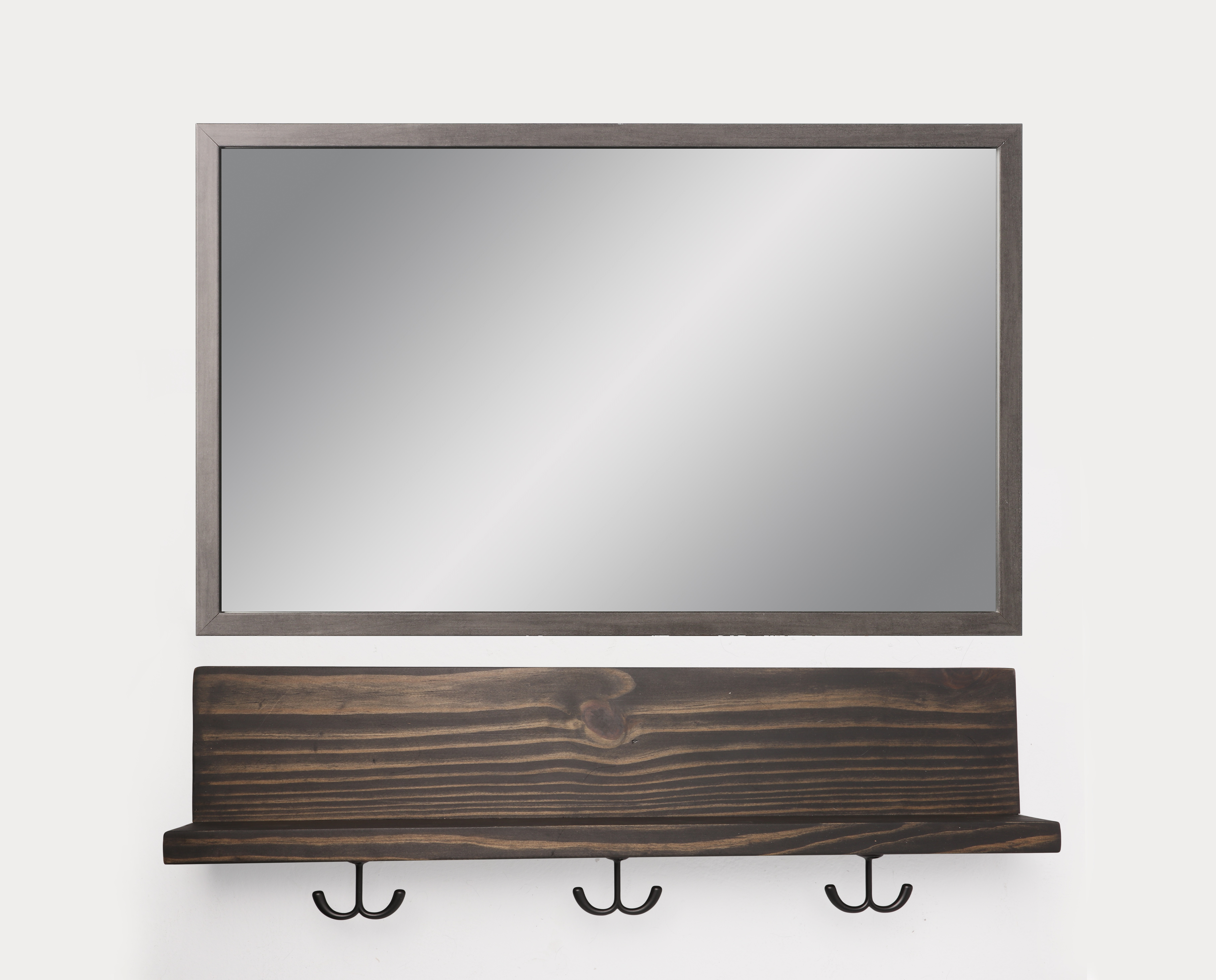 Well Known Details About Floating Black Wall Shelf With Black Utility Hooks And Gray Mirror Regarding Wall Mirrors With Hooks And Shelf (View 20 of 20)