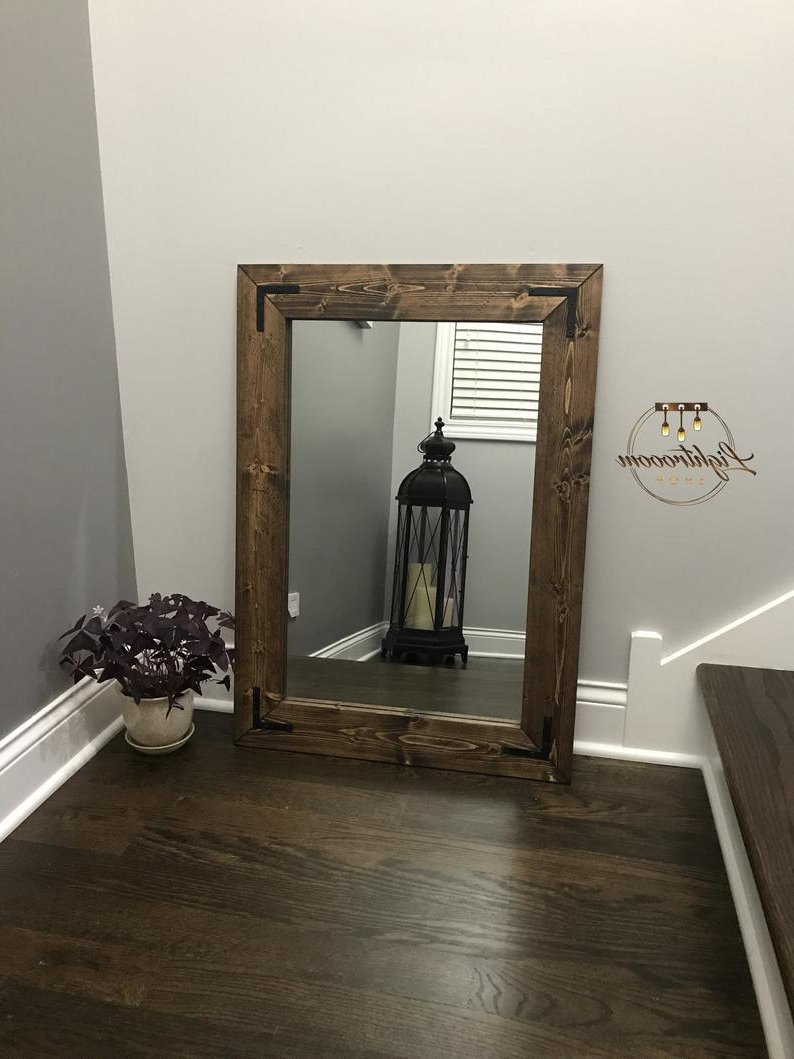 Well Known Espresso Mirror, Wood Frame Mirror, Rustic Wood Mirror, Bathroom Mirror, Wall Mirror, Vanity Mirror, Small Mirror, Large Mirror, Gift With Regard To Wooden Framed Wall Mirrors (View 17 of 20)