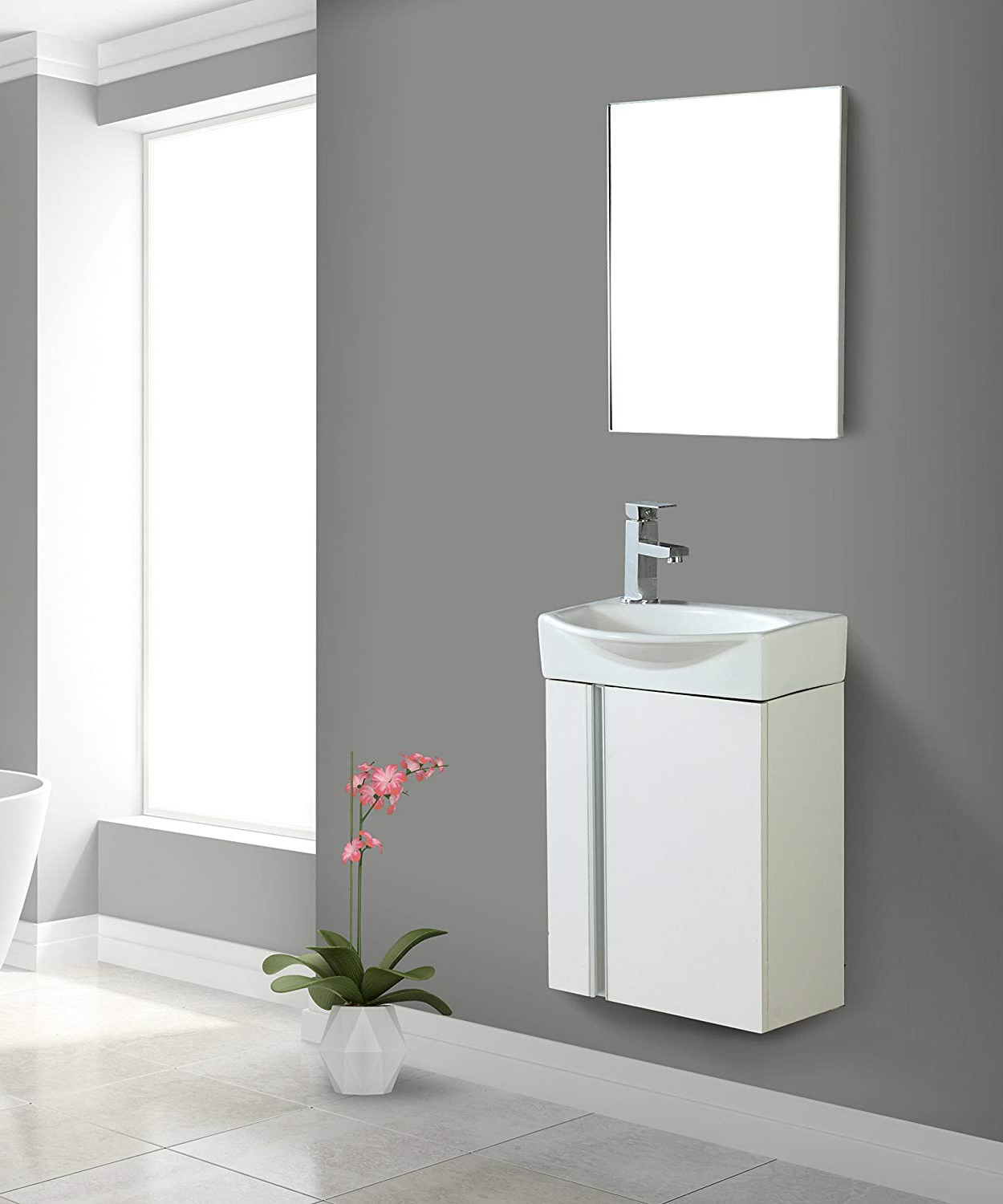 Well Known Fine Fixtures Compacto Small Bathroom Vanity Set With Sink  Wall Hung  Cabinet  Sink Top, And Mirror Included (White) In Small Bathroom Wall Mirrors (Gallery 20 of 20)