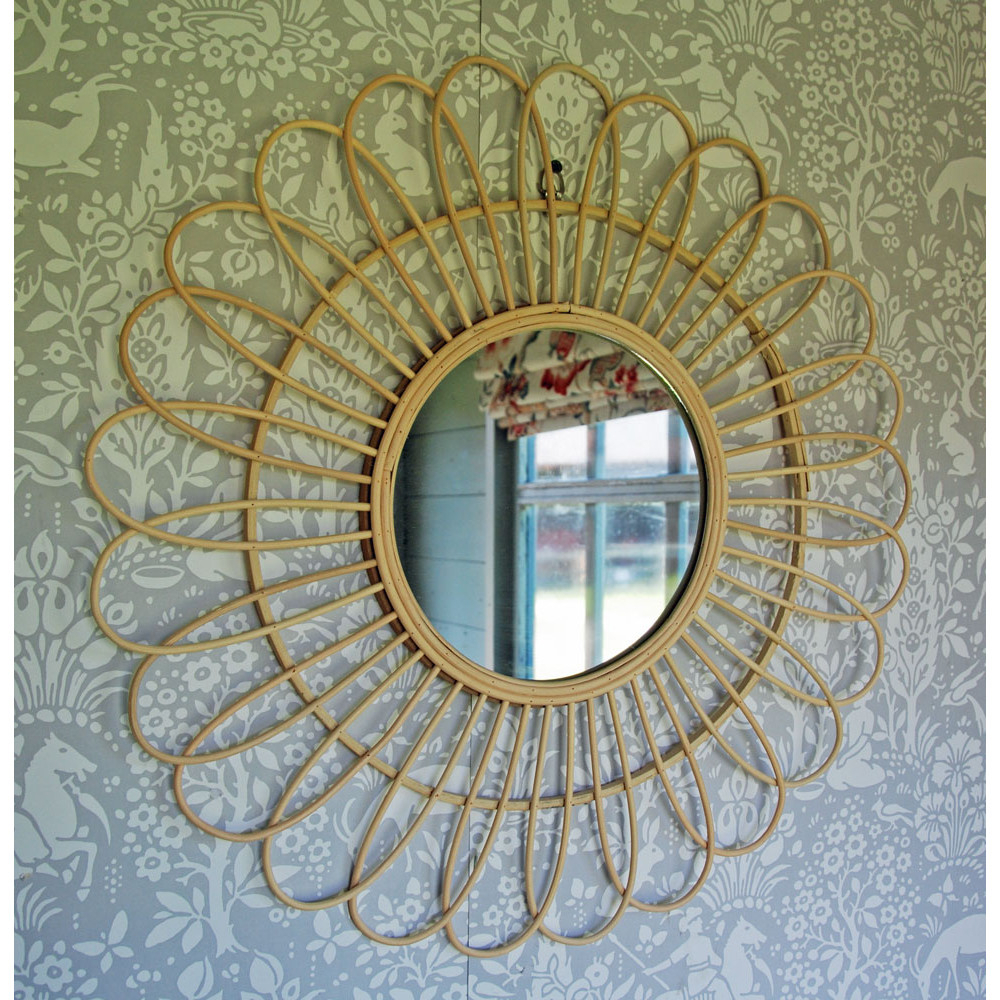 Well Known Flower Petal Rattan Wall Mirror With Regard To Rattan Wall Mirrors (View 20 of 20)