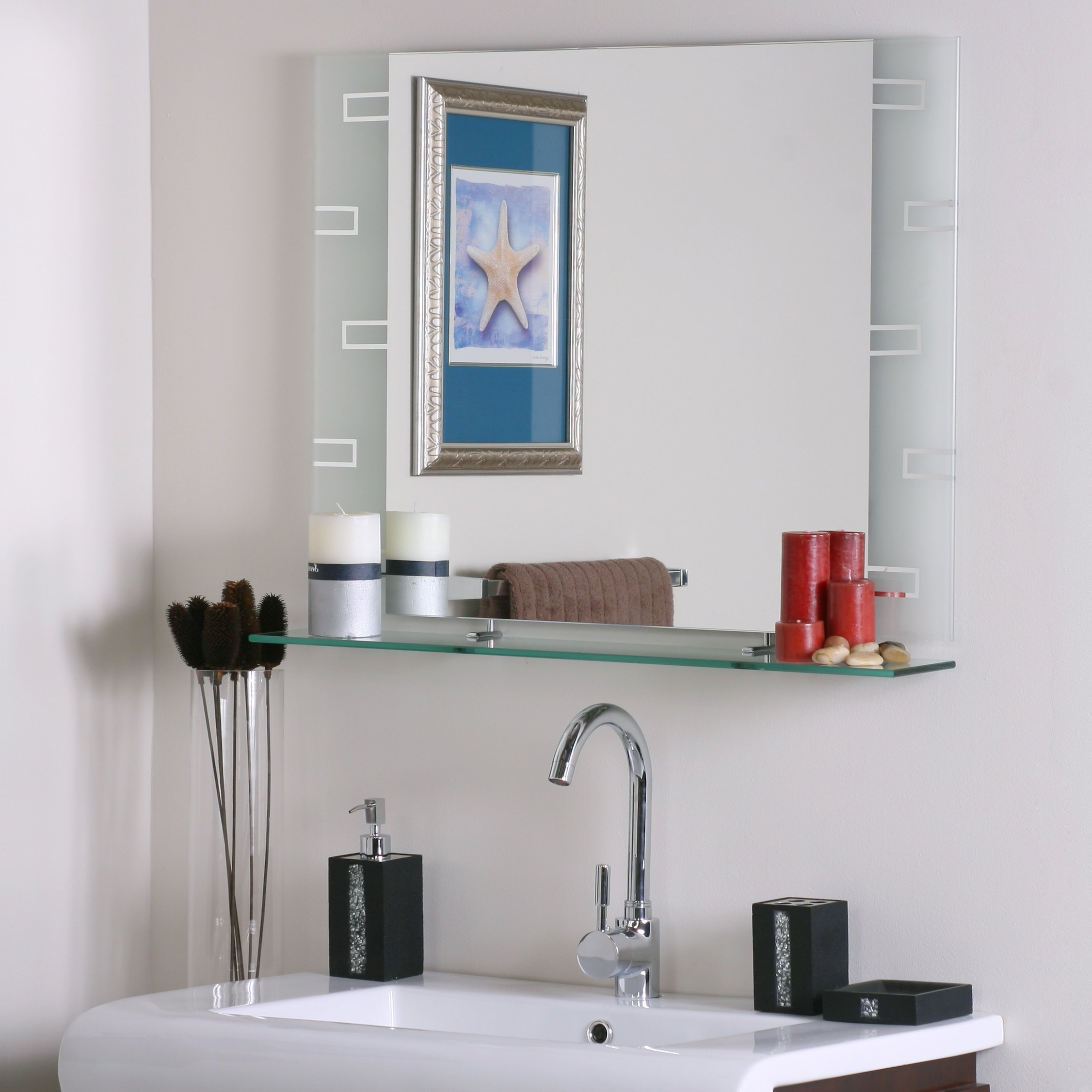 Well Known Frameless Bathroom Wall Mirrors With Regard To Wyona Frameless Wall Mirror With Shelf (View 20 of 20)