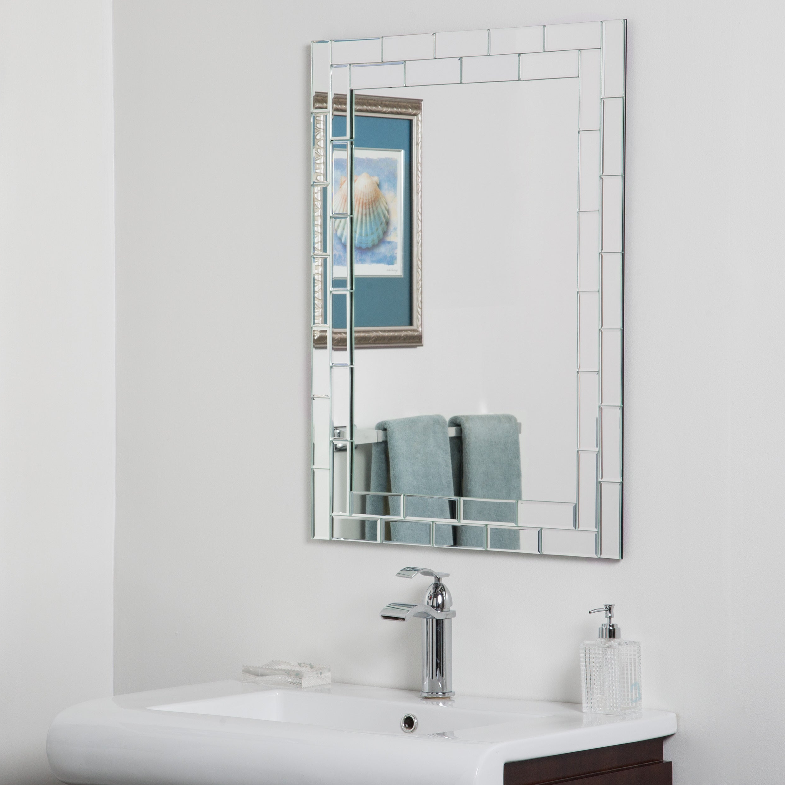 Well Known Frameless Molten Wall Mirrors With Grand Street Beveled Glass Frameless Bathroom Mirror – Silver – A/n (View 16 of 20)