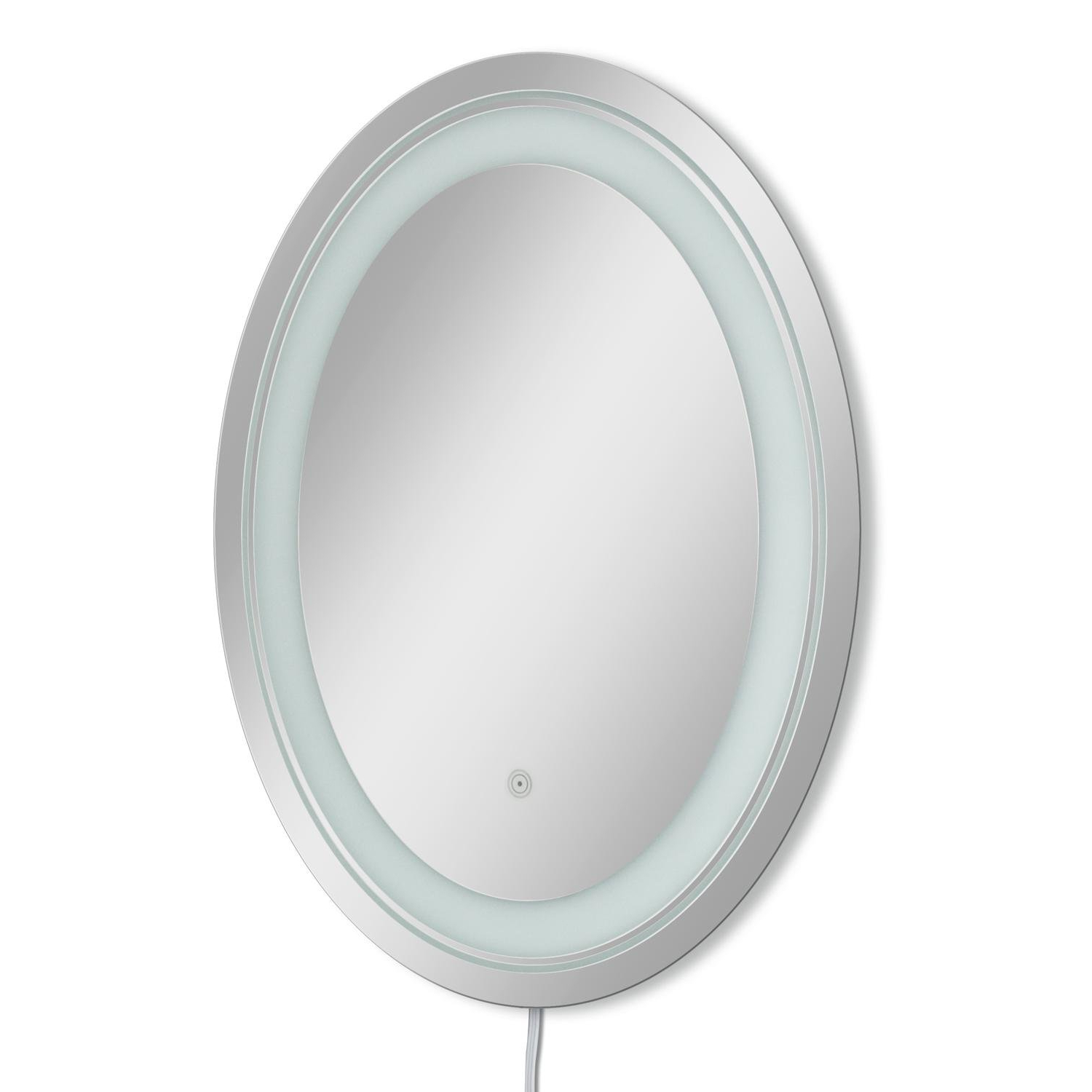 Well Known Frosted Oval Led Bathroom/vanity Wall Mirror With White Oval Wall Mirrors (View 12 of 20)