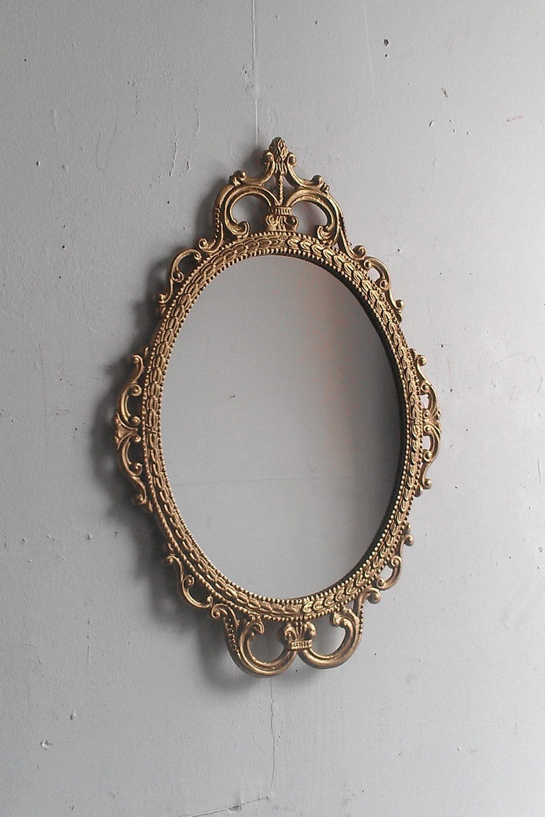 Well Known Gold Mirror In Vintage Oval Frame, Small Bathroom Wall Mirror, Mid Century Modern, Entryway Decor, Gold Accents, French Country Cottage Within Antique Oval Wall Mirrors (View 15 of 20)