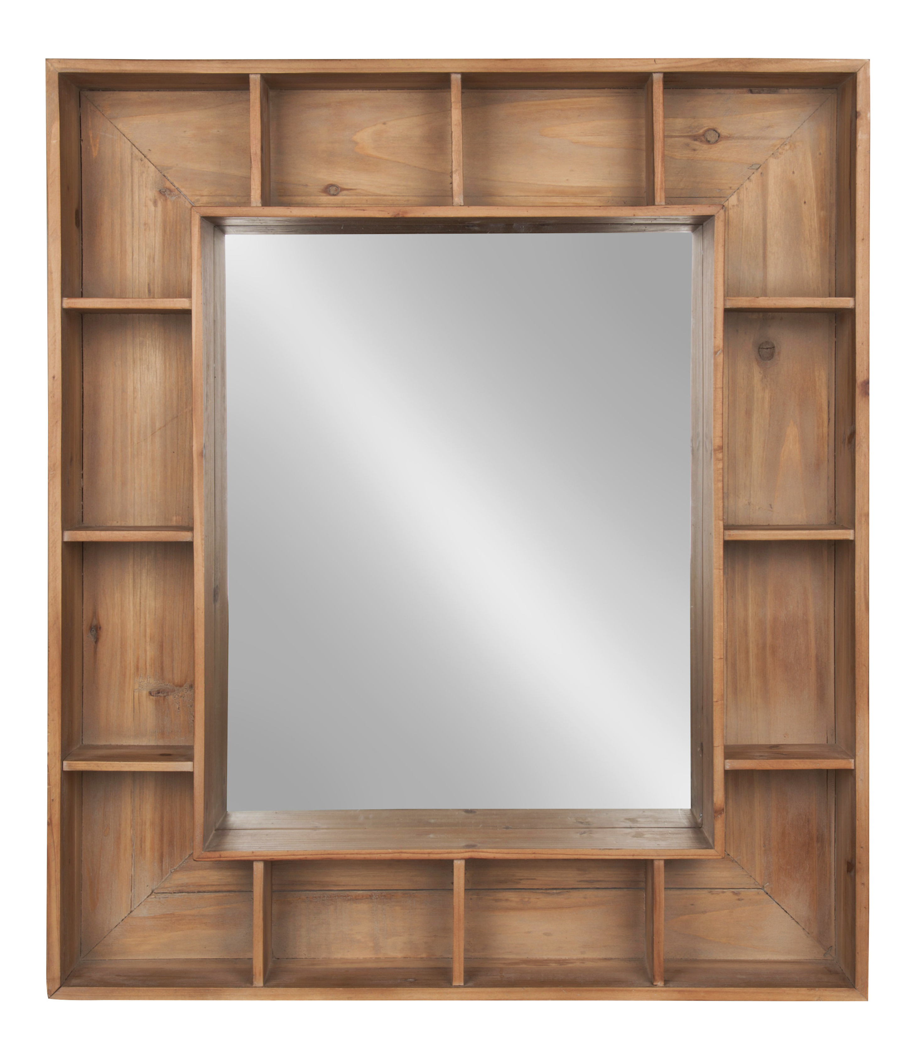 Well Known Gretel Rustic Wood Cubby Framed Wall Storage Accent Mirror Pertaining To Wall Mirrors With Storages (View 10 of 20)