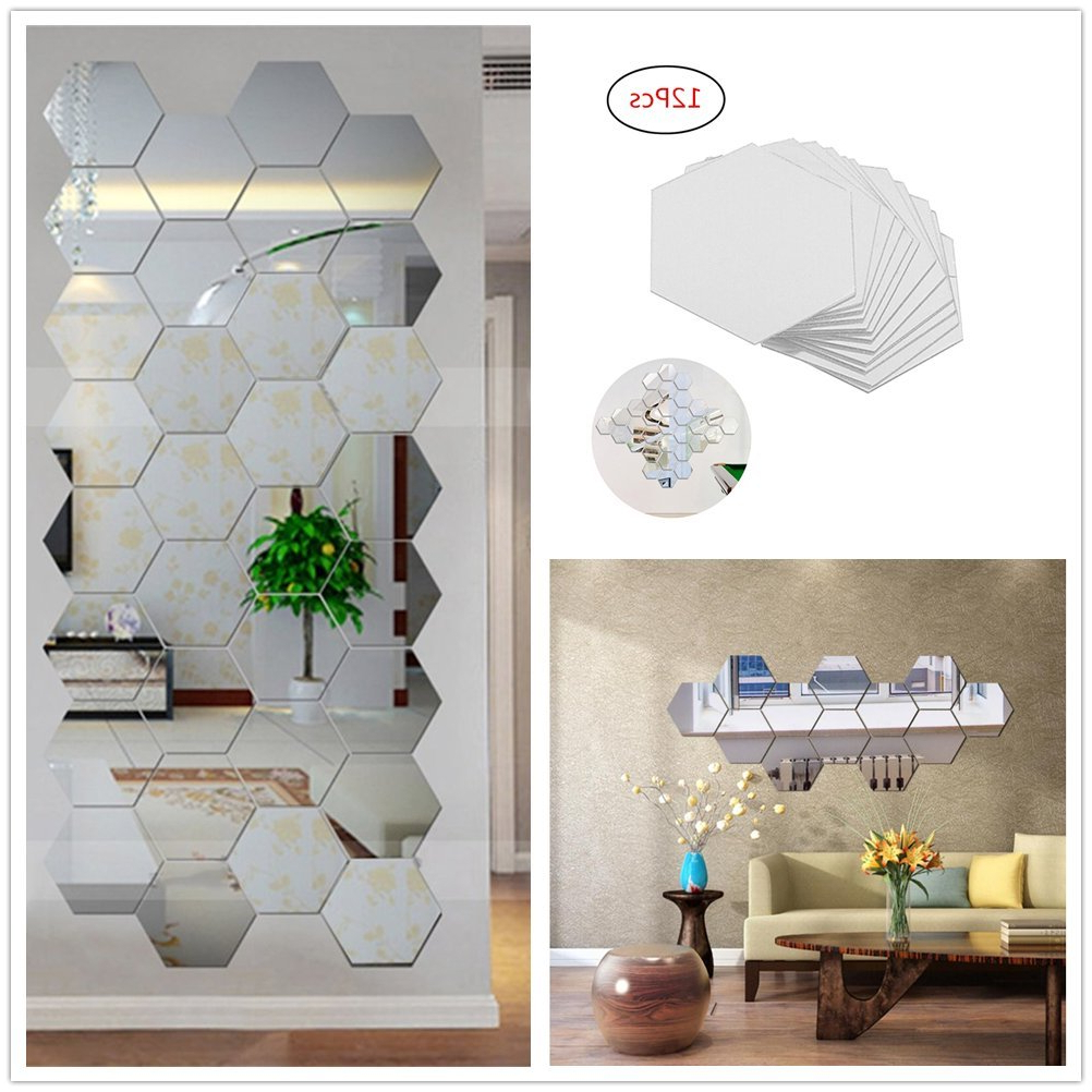 Well Known Hexagon Wall Mirrors Intended For Yusylvia 12Pcs Hexagonal 3D Acrylic Mirrors Wall Stickers Home Decor Living Room Diy Modern Art Mirror Wall Mural Decoration (Small, Silver) (View 4 of 20)