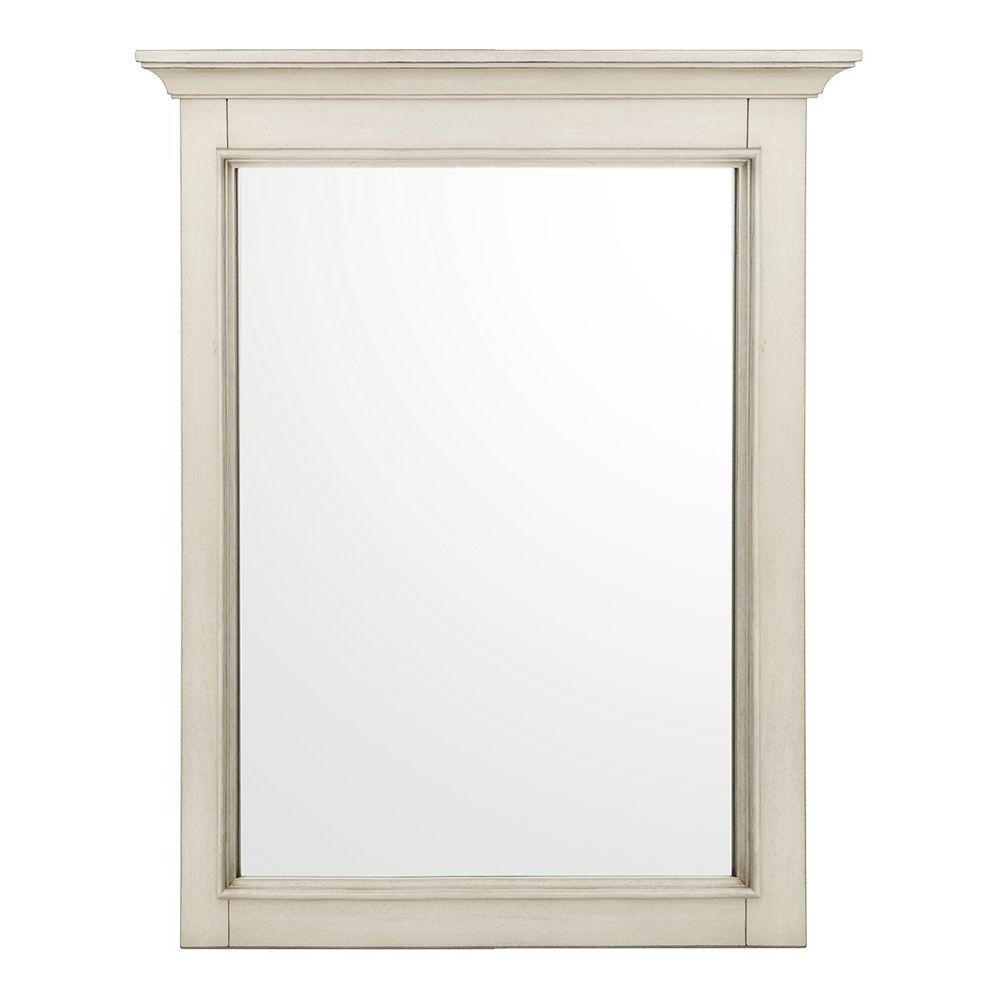 Well Known Home Decorators Collection Klein 30 In. L X 24 In. W Wall Mirror In Antique White Inside Antique White Wall Mirrors (Gallery 9 of 20)