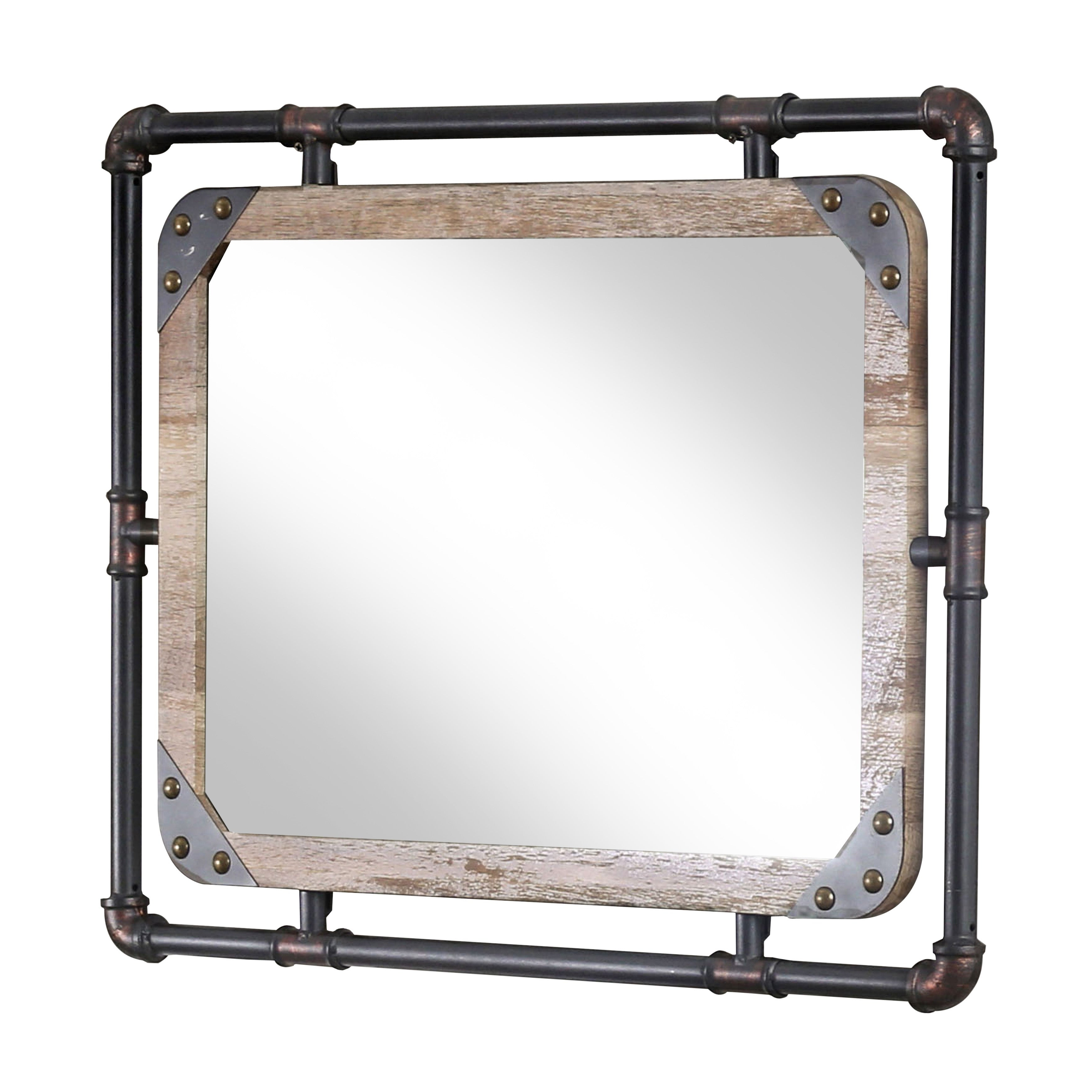 Well Known Industrial Modern & Contemporary Wall Mirrors Throughout Furniture Of America Revo Industrial Distressed Wall Mirror (View 18 of 20)