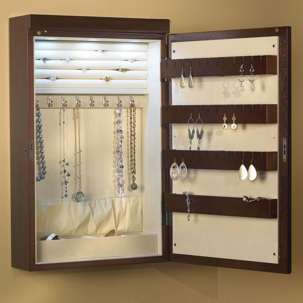 "Well Known Jewelry Box Wall Mirrors With The 24"" Wall Mounted Illuminated Jewelry Armoire – Hammacher (View 20 of 20)"