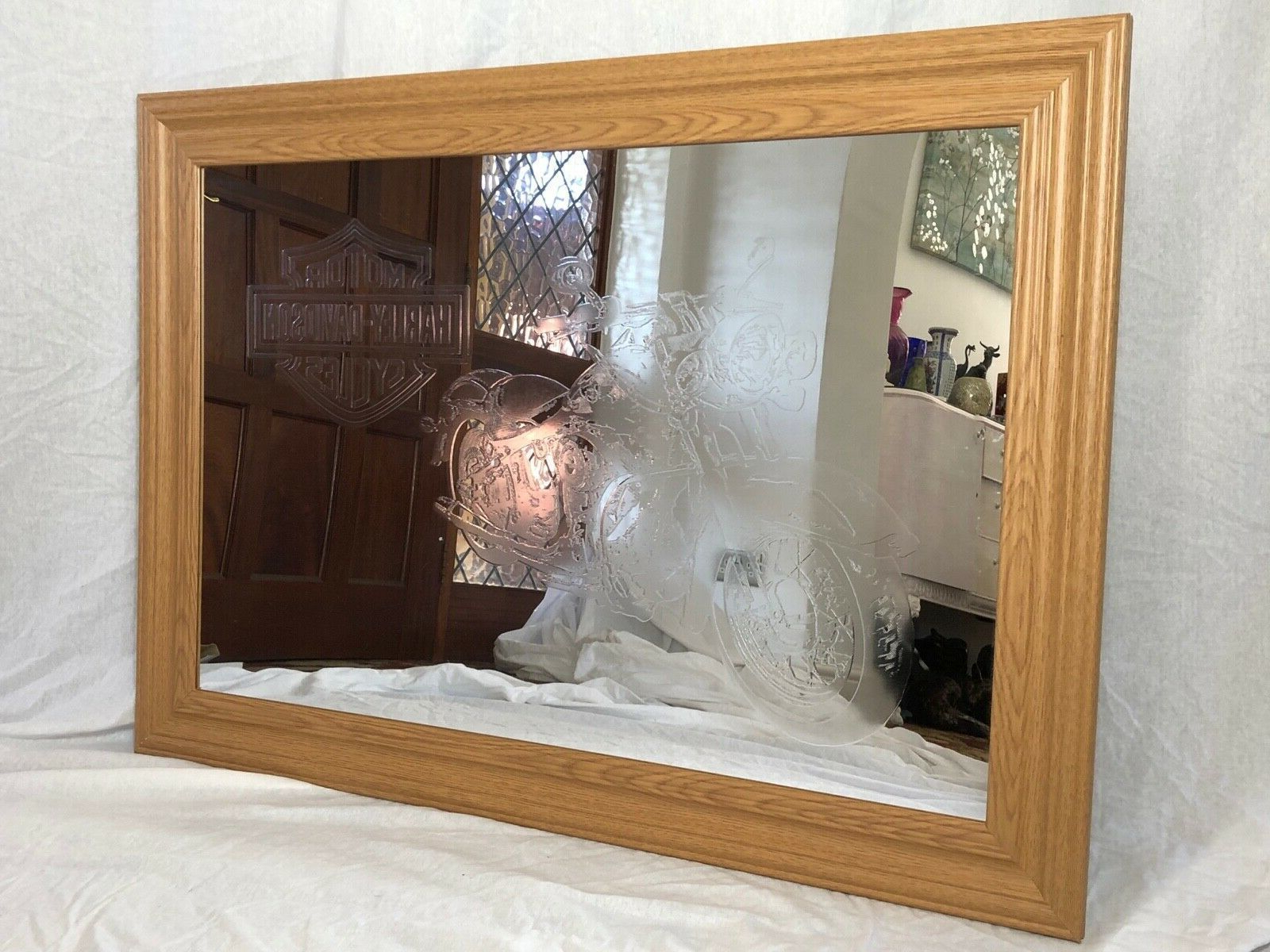 Well Known Large Decorative Etched Motor Harley Davidson Cycles Style Wall Mirror Hotel Bar For Harley Davidson Wall Mirrors (Gallery 5 of 20)