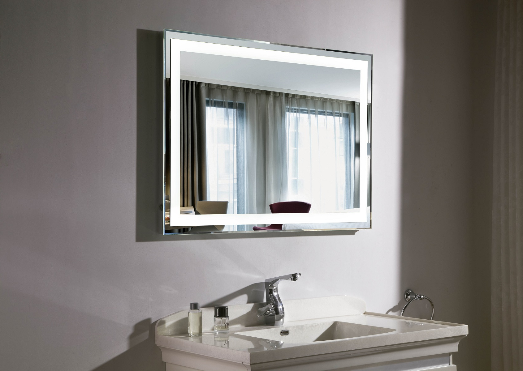 Well Known Large Lighted Bathroom Wall Mirrors Regarding Budapest Iii Lighted Vanity Mirror Led Bathroom Mirror (View 7 of 20)