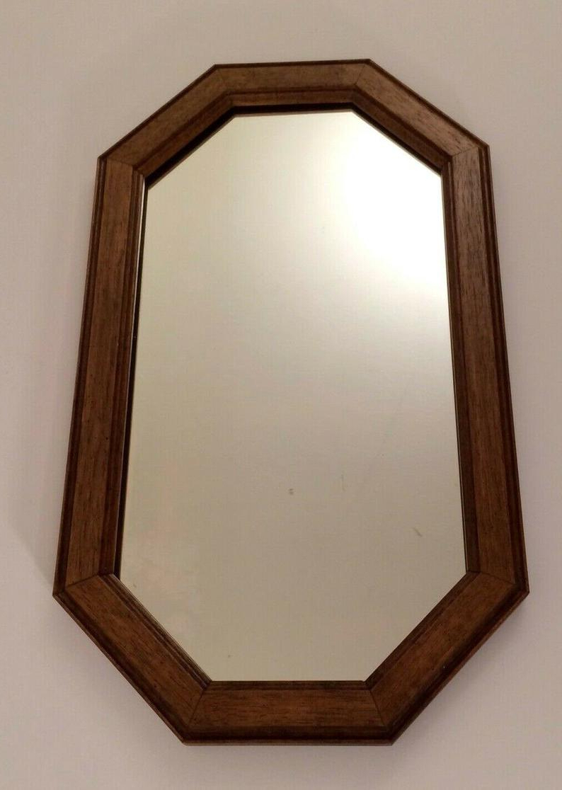 "Well Known Large Retro Brown Wooden Wall Mirror Octagonal 19x11"" Vintage In Wooden Wall Mirrors (View 20 of 20)"