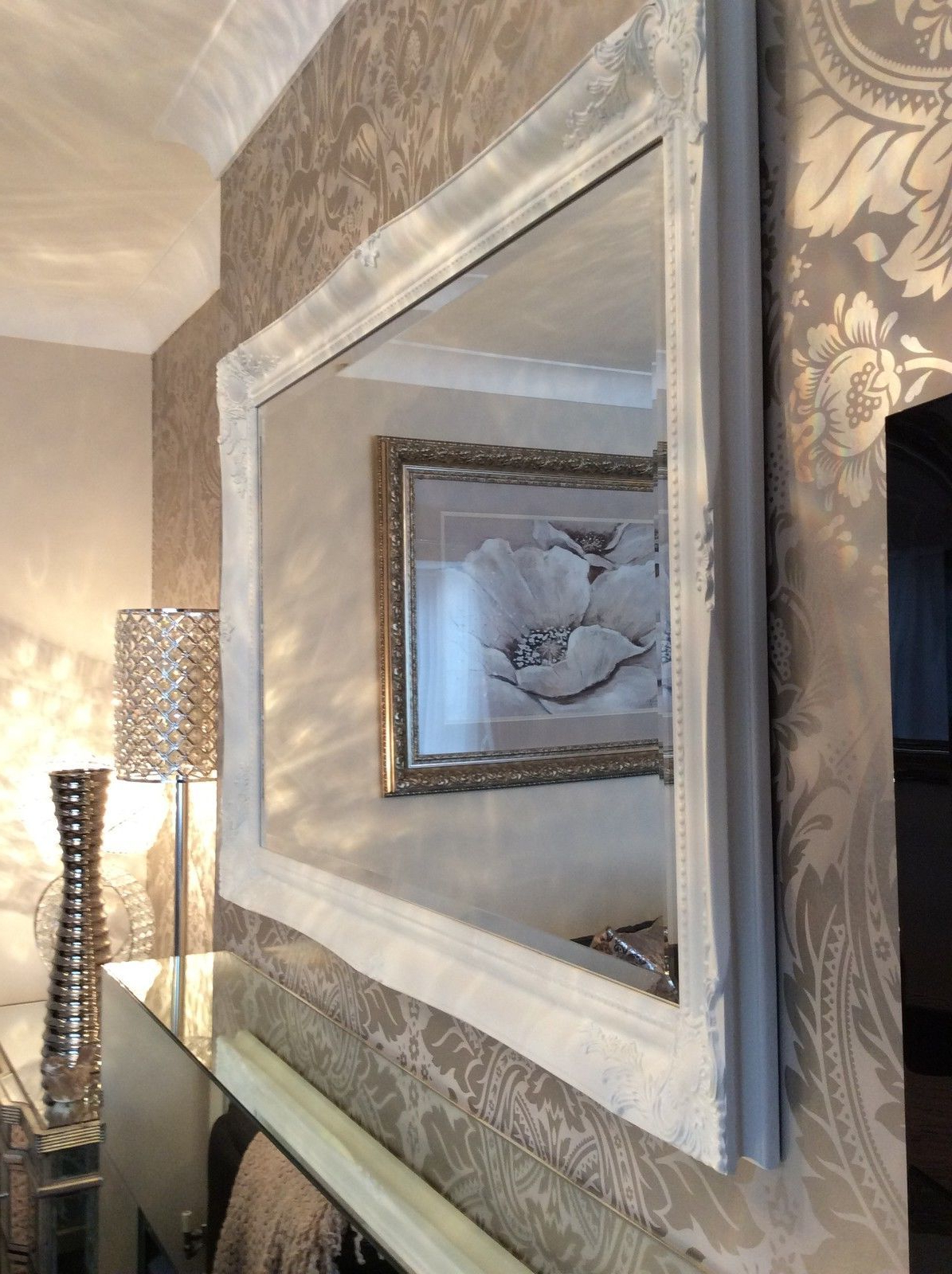 Well Known Large White Wall Mirrors In Large White Shabby Chic Wall Mirror – Large Range Of Sizes (View 13 of 20)
