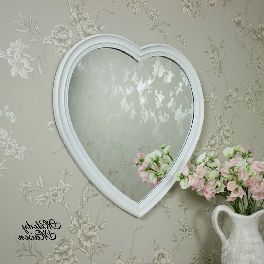 Well Known Long White Wall Mirrors Pertaining To Wall Mounted Large White Heart Wall Mirror A Heart Shaped (View 19 of 20)