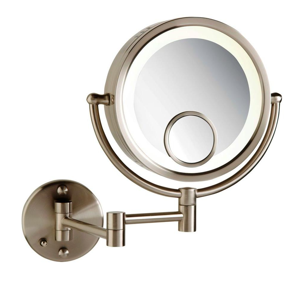 Well Known Magnifying Wall Mirrors For Bathroom With Regard To See All 8 In. X 8 In. Round Lighted Direct Wired Wall Mounted 7X And 15X Magnification Makeup Mirror In Nickel (Gallery 4 of 20)