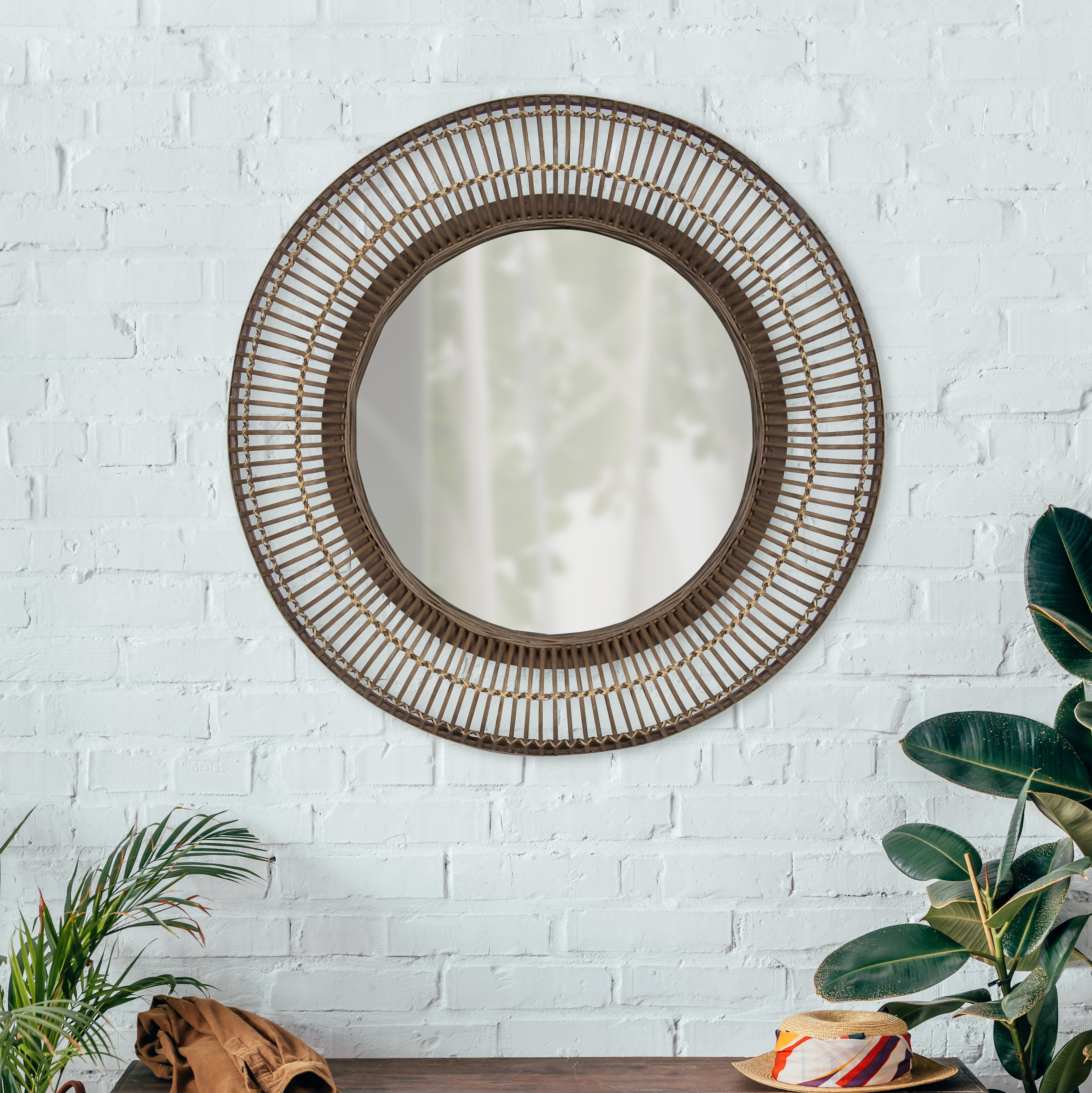 Well Known Mcnary Accent Mirrors Within Fleeton Round Rattan Frame Accent Wall Mirror (View 16 of 20)