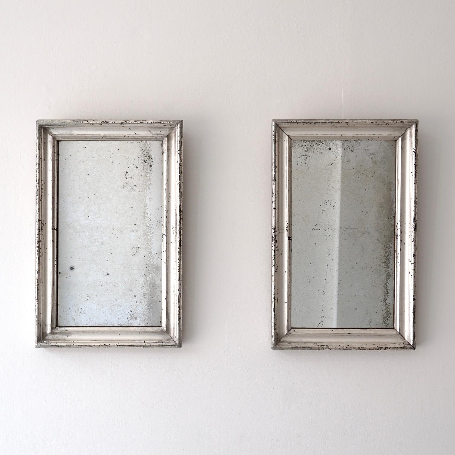 Well Known Mercury Glass Wall Mirrors Regarding Beautiful Pair Of Silver Mercury Glass Mirrors In (View 19 of 20)